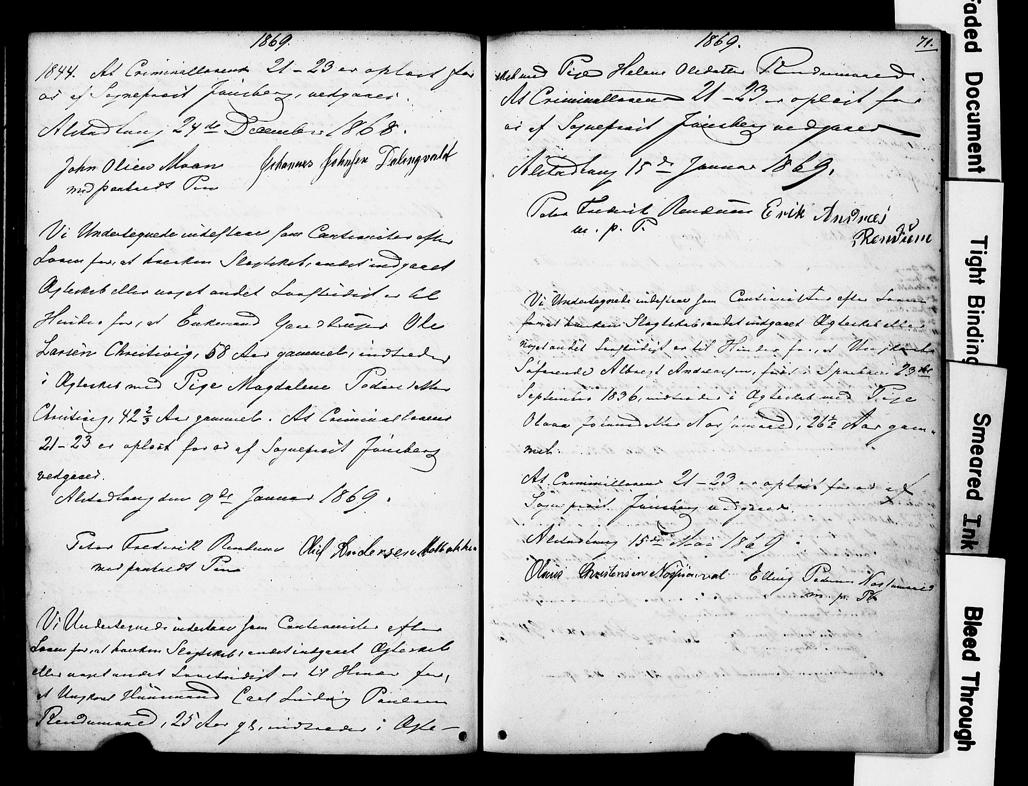 SAT, Ministerialprotokoller, klokkerbøker og fødselsregistre - Nord-Trøndelag, 717/L0161: Forlovererklæringer nr. 717A11, 1850-1895, s. 71