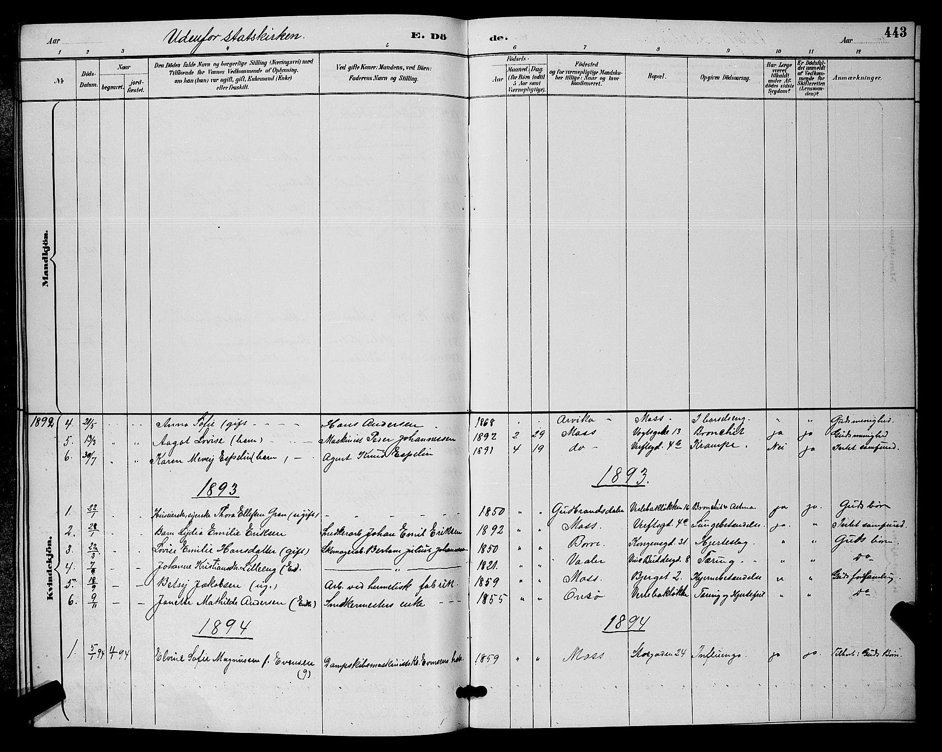 SAO, Moss prestekontor Kirkebøker, G/Ga/L0006: Klokkerbok nr. I 6, 1889-1900, s. 443