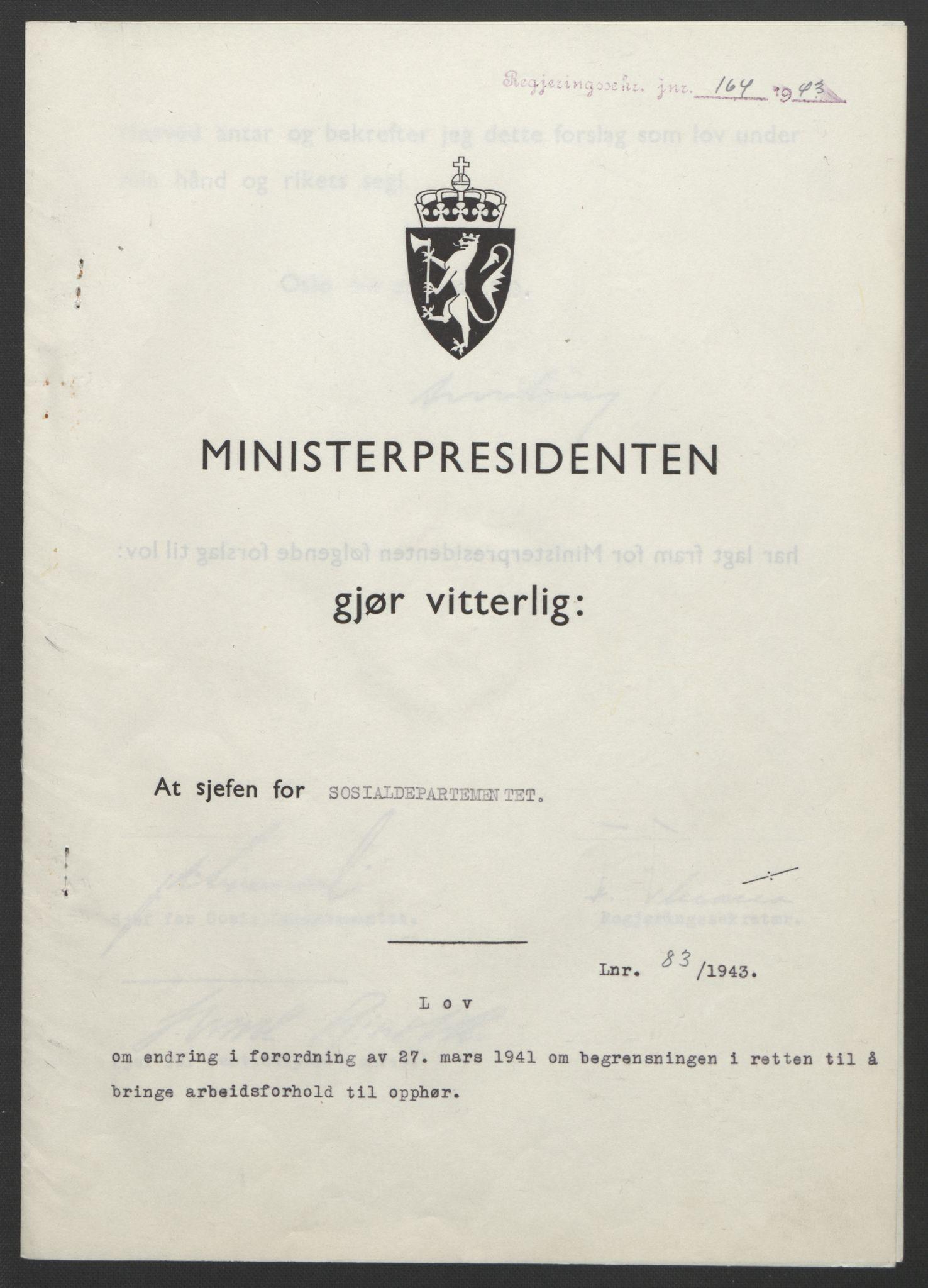RA, NS-administrasjonen 1940-1945 (Statsrådsekretariatet, de kommisariske statsråder mm), D/Db/L0099: Lover, 1943, s. 378