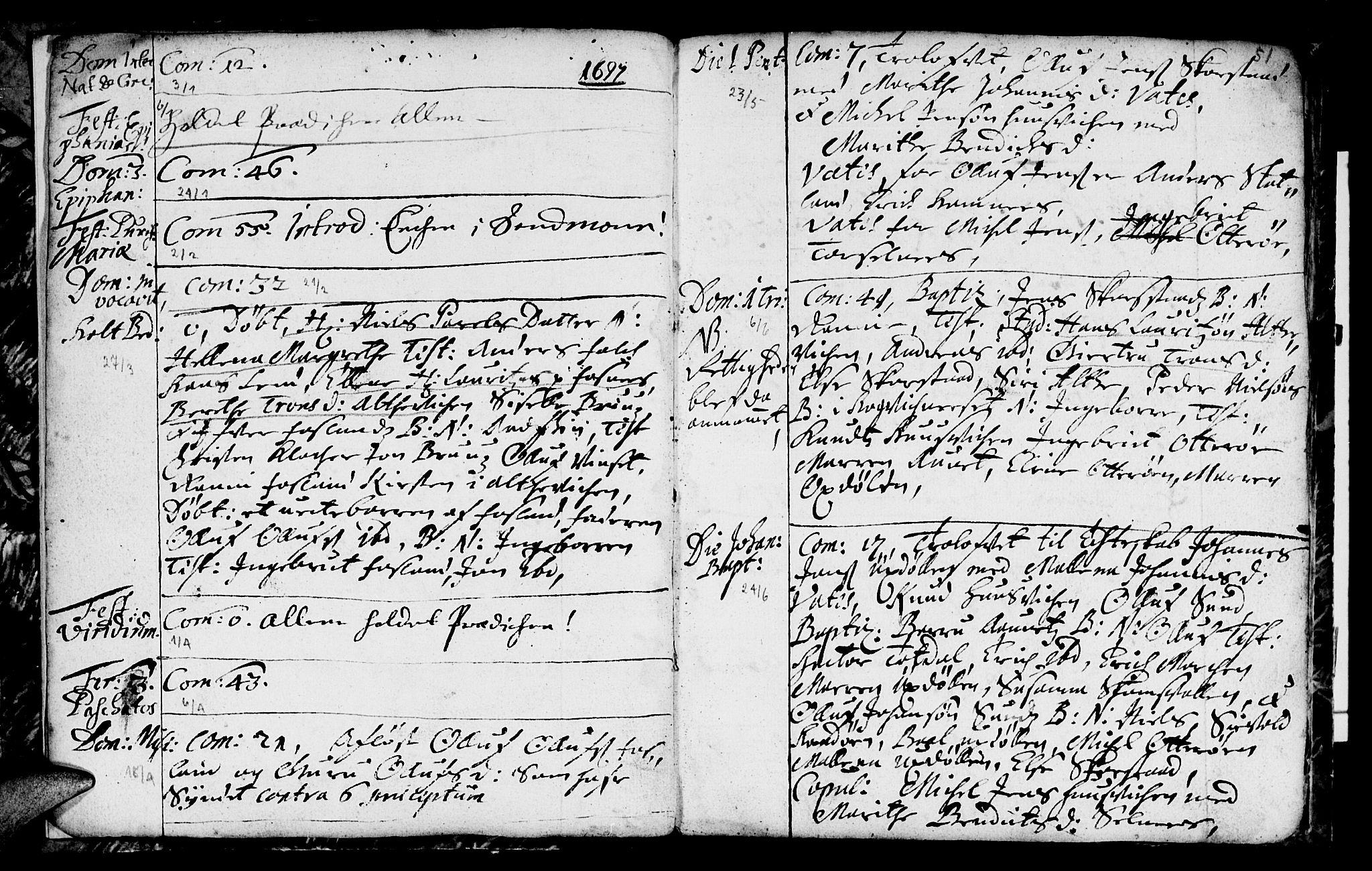 SAT, Ministerialprotokoller, klokkerbøker og fødselsregistre - Nord-Trøndelag, 774/L0627: Ministerialbok nr. 774A01, 1693-1738, s. 50-51