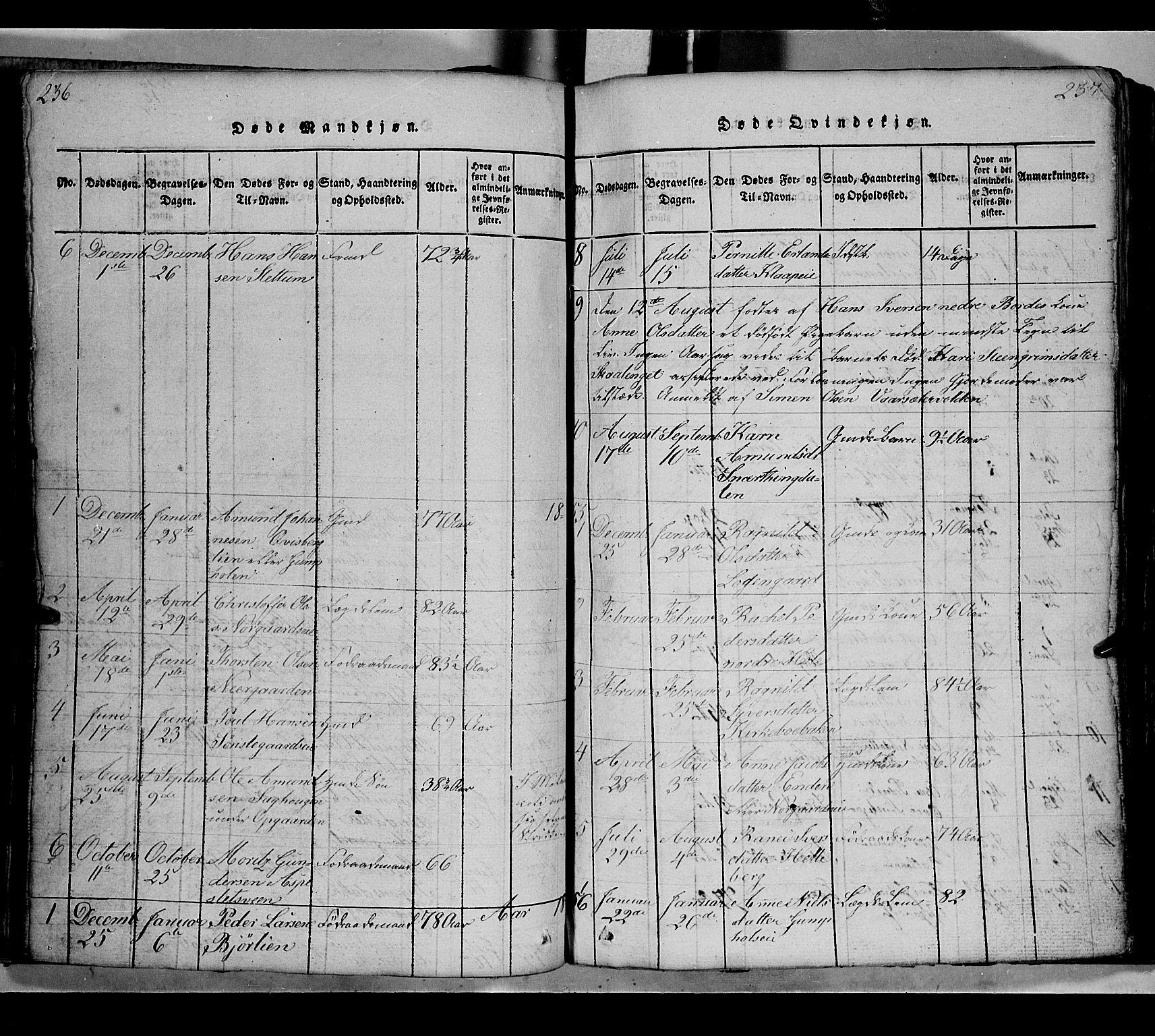 SAH, Gausdal prestekontor, Klokkerbok nr. 2, 1818-1874, s. 236-237