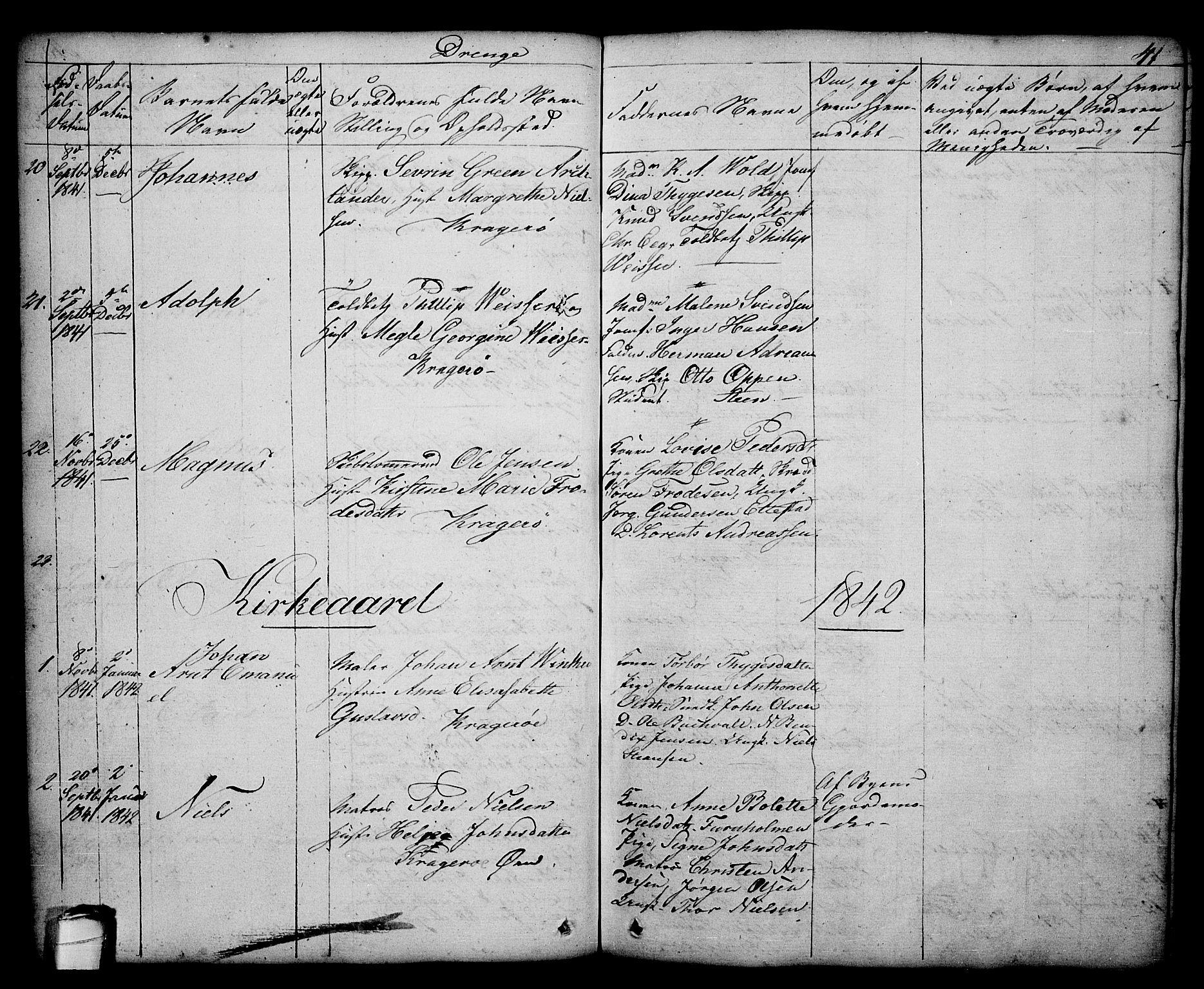 SAKO, Kragerø kirkebøker, G/Ga/L0003: Klokkerbok nr. 3, 1832-1852, s. 41