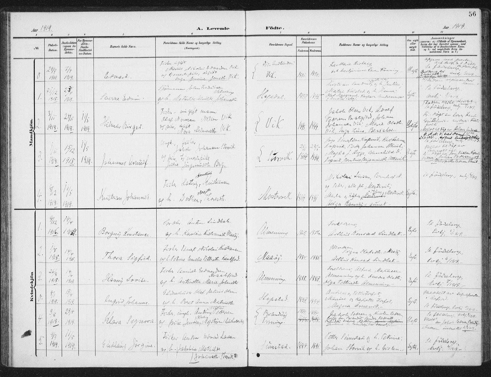 SAT, Ministerialprotokoller, klokkerbøker og fødselsregistre - Sør-Trøndelag, 657/L0709: Ministerialbok nr. 657A10, 1905-1919, s. 56