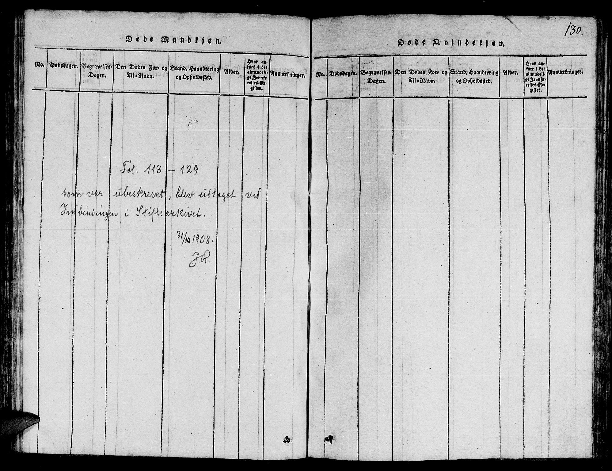 SAT, Ministerialprotokoller, klokkerbøker og fødselsregistre - Nord-Trøndelag, 780/L0648: Klokkerbok nr. 780C01 /1, 1815-1870, s. 130