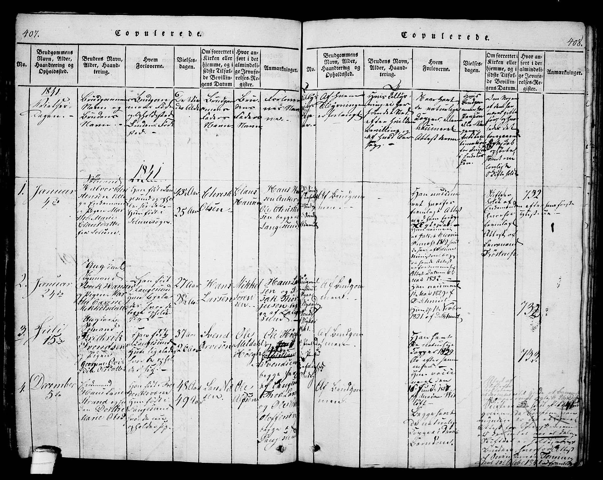 SAKO, Langesund kirkebøker, G/Ga/L0003: Klokkerbok nr. 3, 1815-1858, s. 407-408