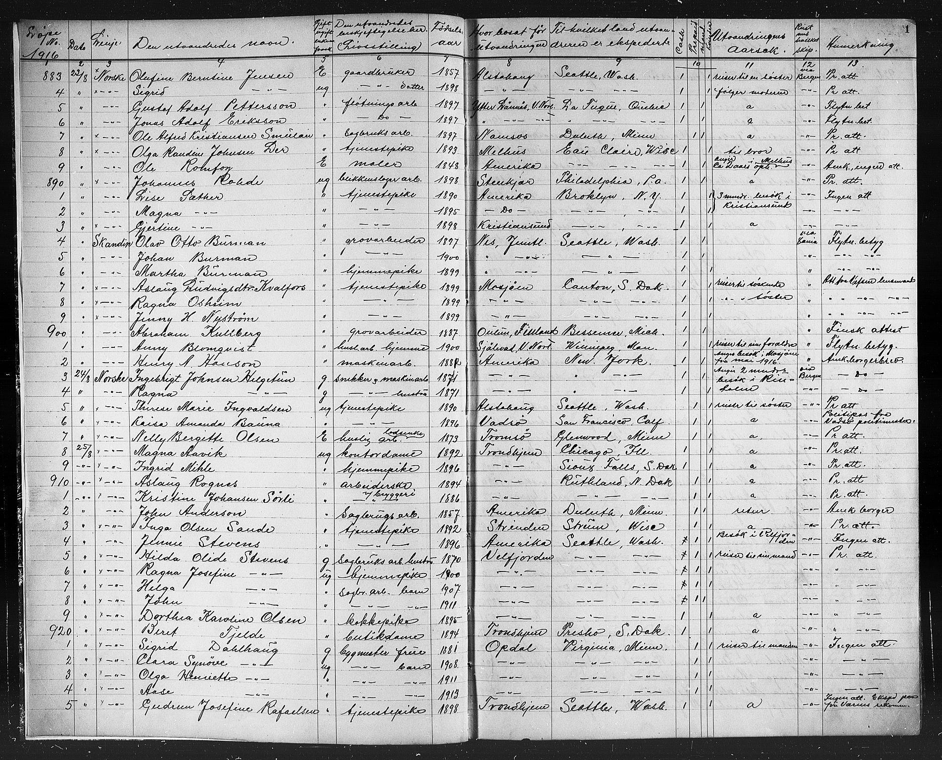 SAT, Trondheim politikammer, 32/L0016: Emigrantprotokoll XV 23.08-10.08, 1916-1926, s. 1