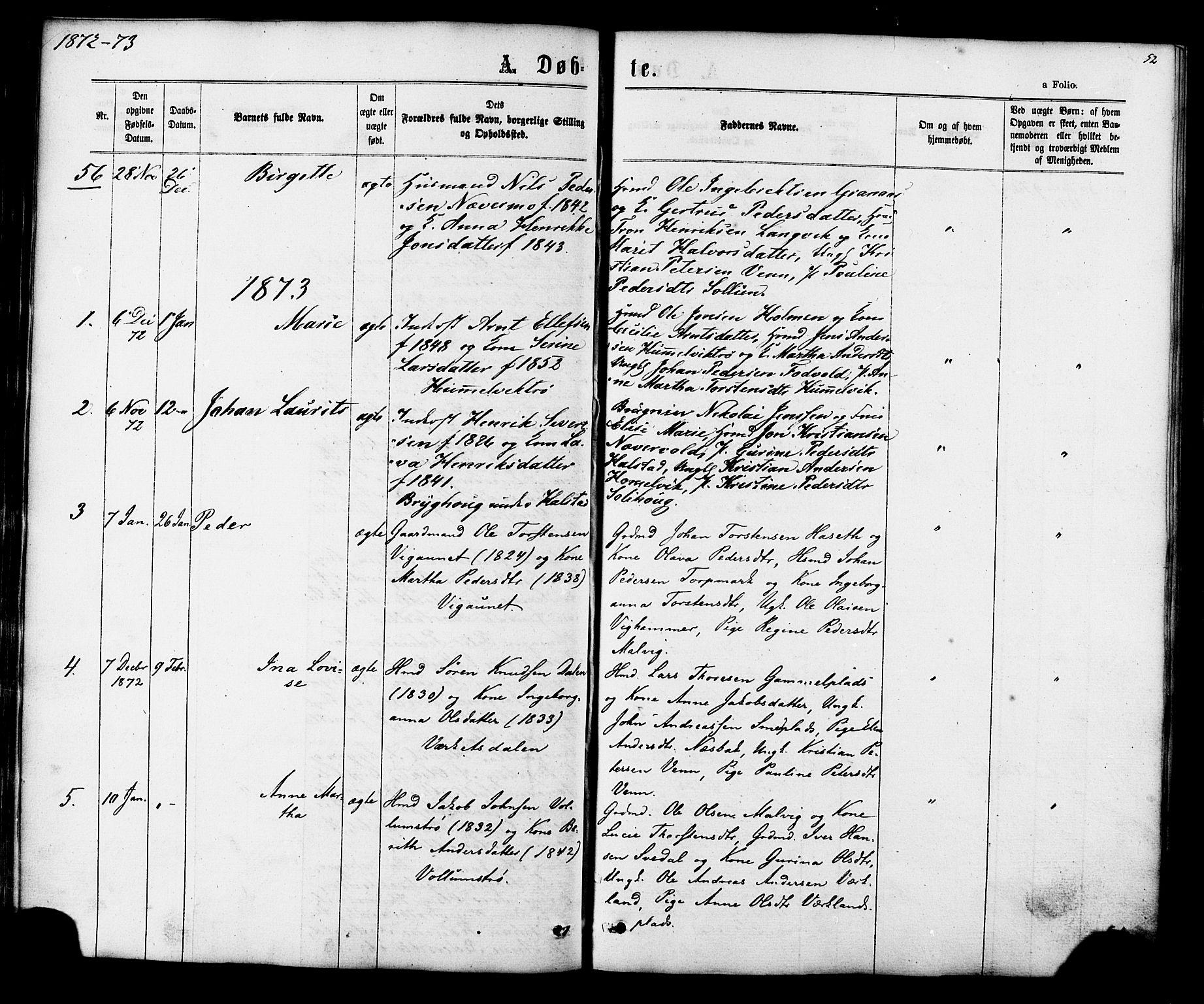 SAT, Ministerialprotokoller, klokkerbøker og fødselsregistre - Sør-Trøndelag, 616/L0409: Ministerialbok nr. 616A06, 1865-1877, s. 52