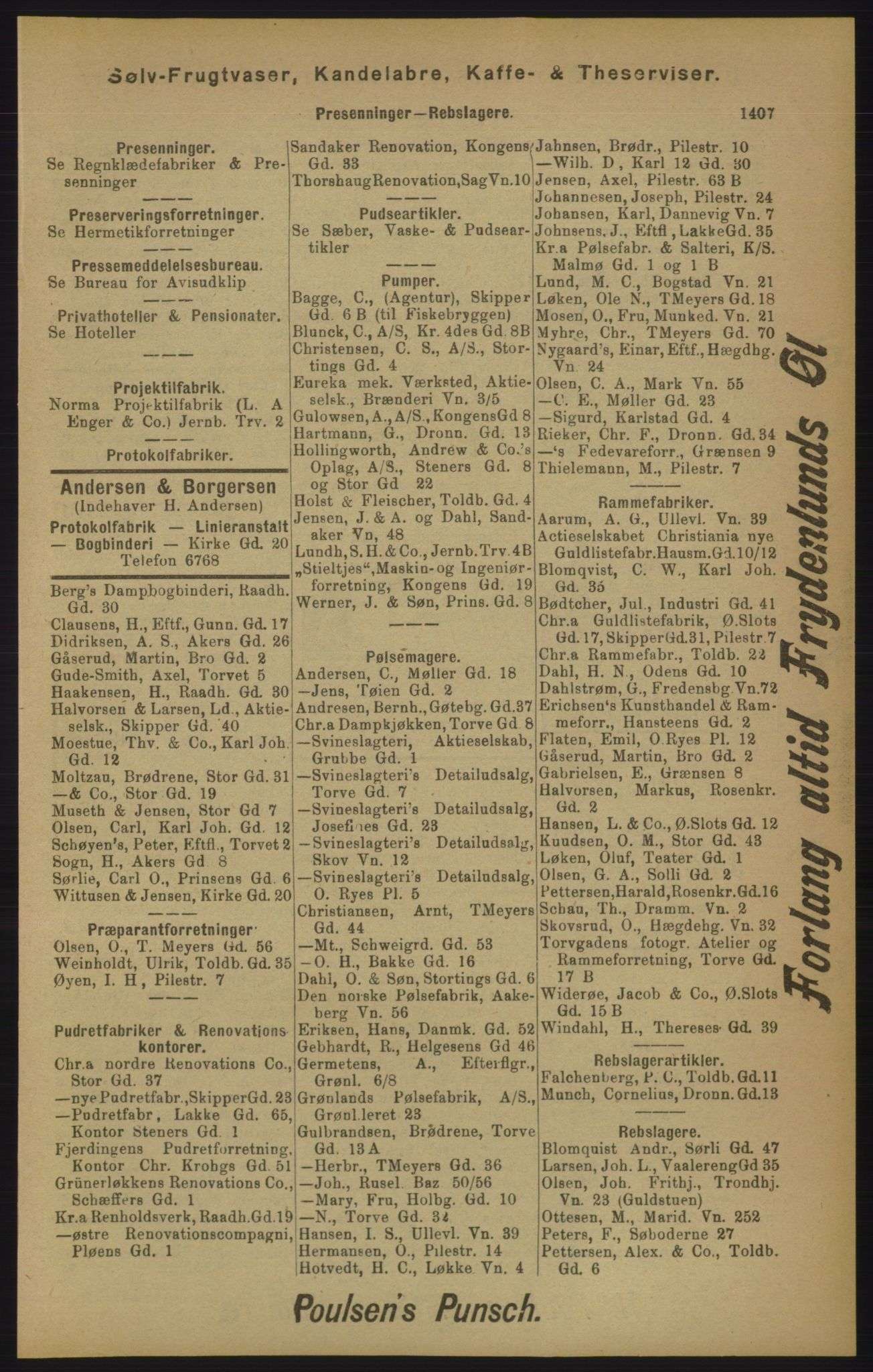 RA, Kristiania adressebok (publikasjon)*, 1905, s. 1407