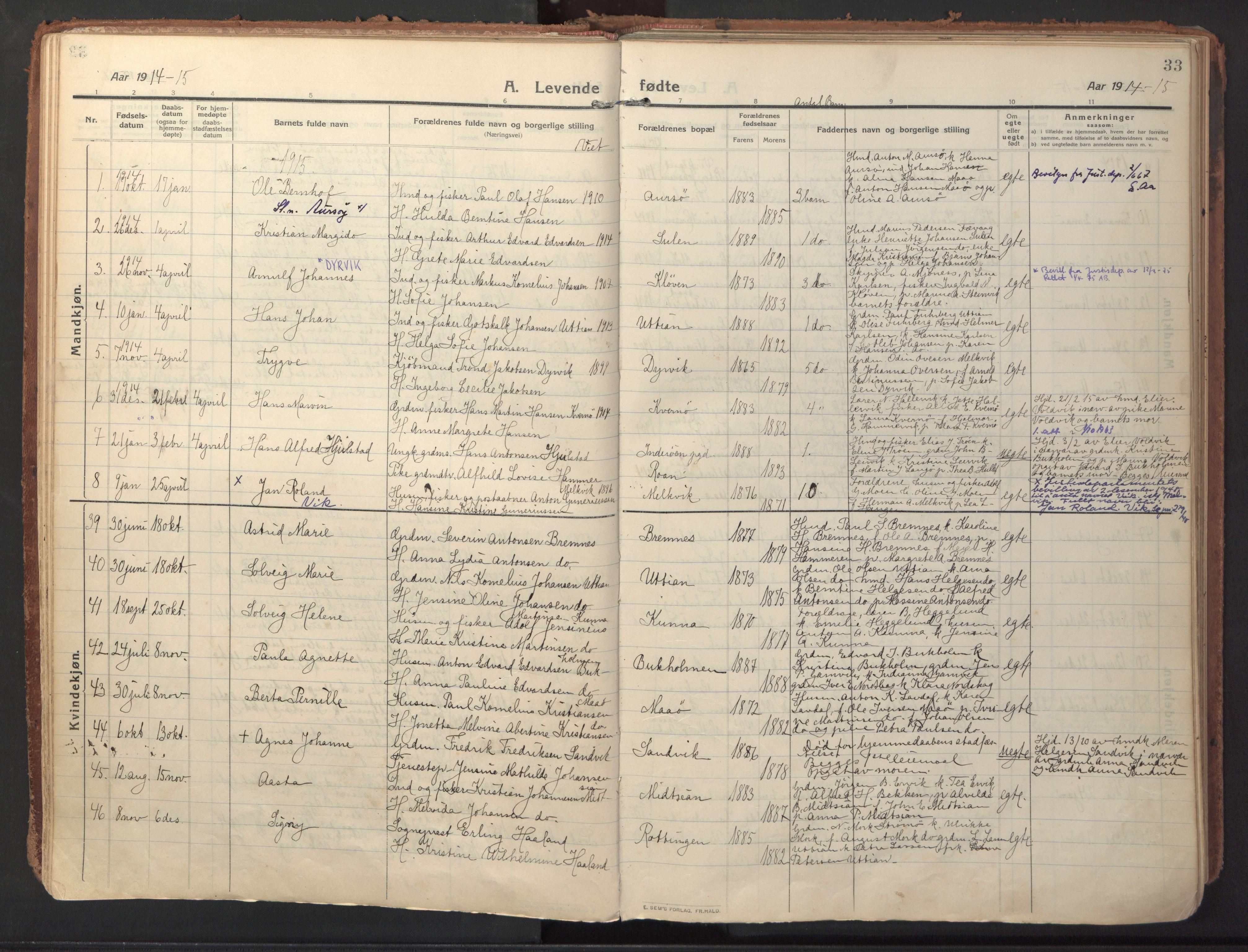 SAT, Ministerialprotokoller, klokkerbøker og fødselsregistre - Sør-Trøndelag, 640/L0581: Ministerialbok nr. 640A06, 1910-1924, s. 33