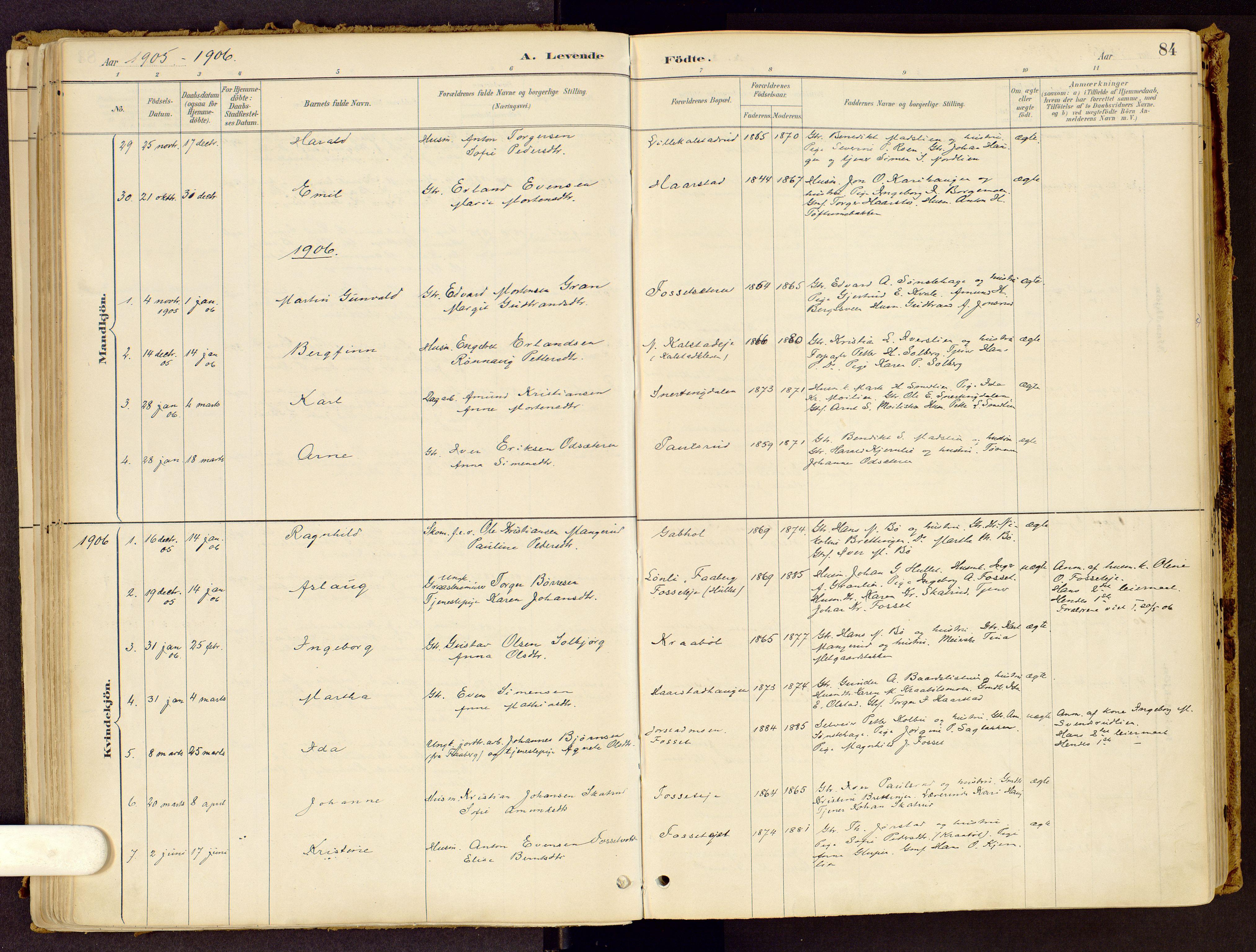 SAH, Vestre Gausdal prestekontor, Ministerialbok nr. 1, 1887-1914, s. 84