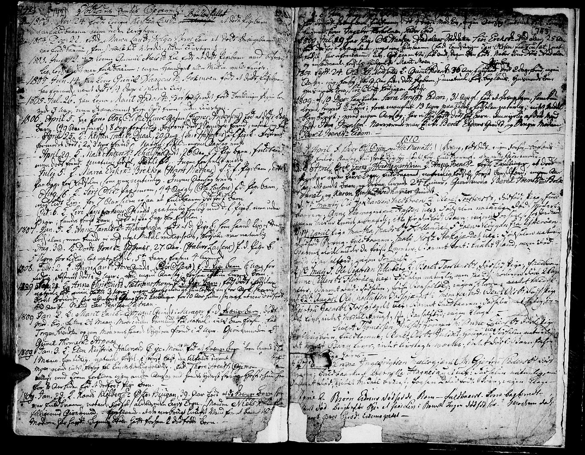 SAT, Ministerialprotokoller, klokkerbøker og fødselsregistre - Nord-Trøndelag, 709/L0060: Ministerialbok nr. 709A07, 1797-1815, s. 742-743