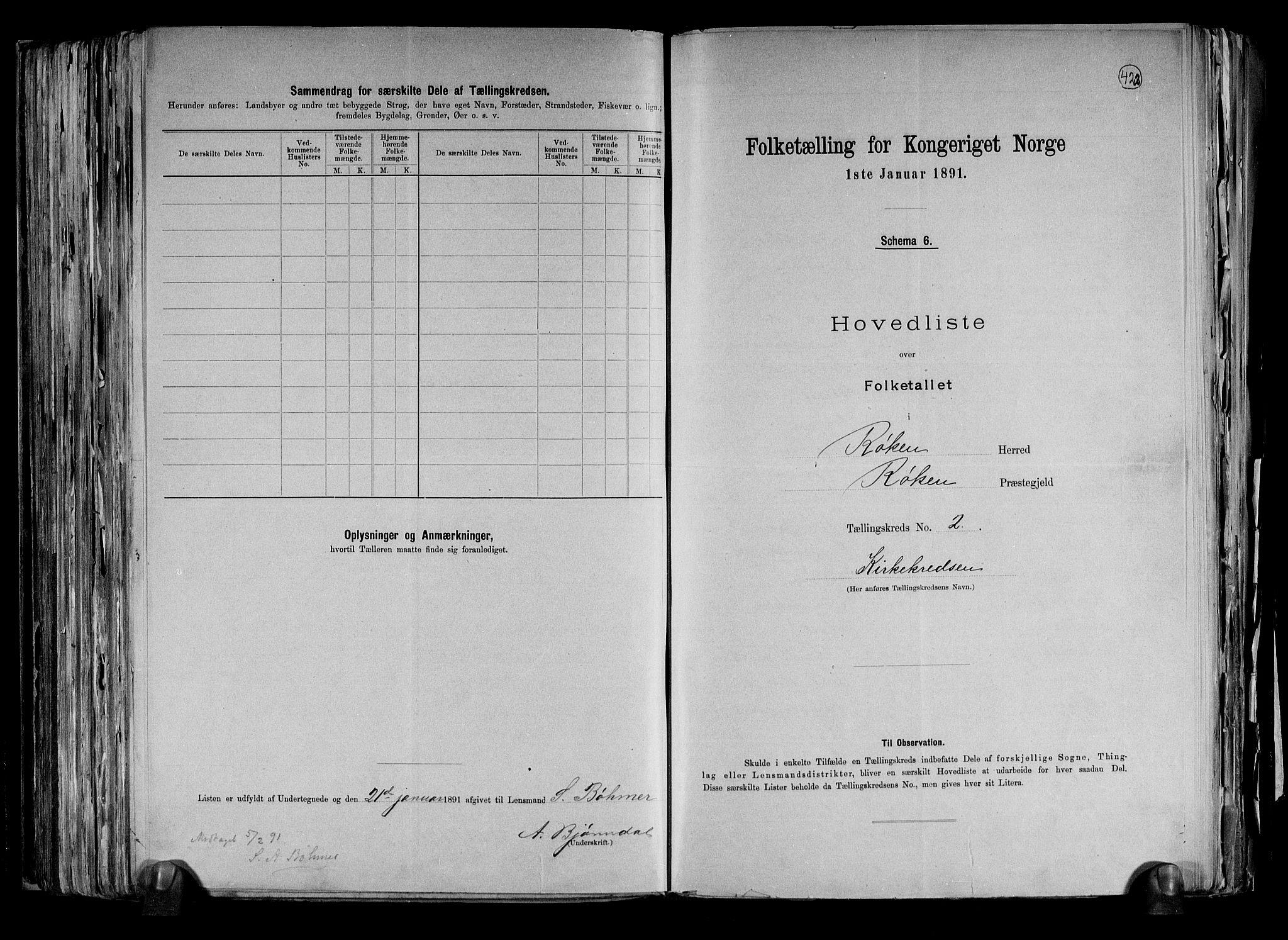 RA, Folketelling 1891 for 0627 Røyken herred, 1891, s. 7