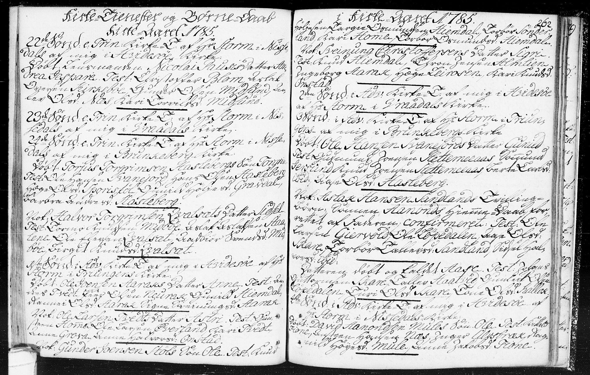 SAKO, Kviteseid kirkebøker, F/Fa/L0002: Ministerialbok nr. I 2, 1773-1786, s. 262
