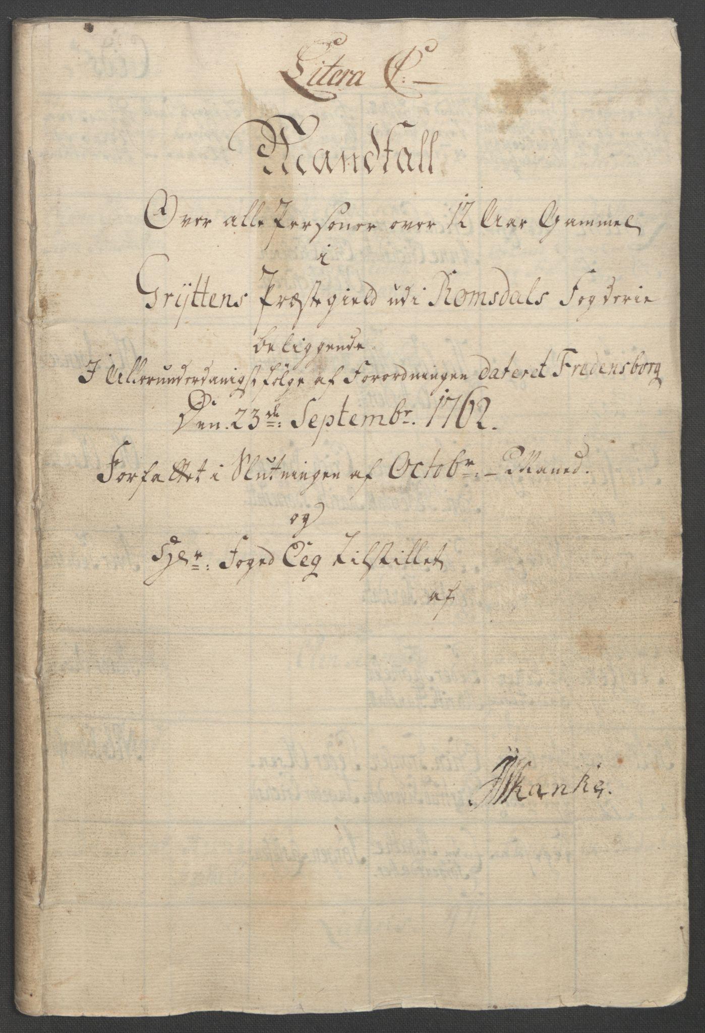 RA, Rentekammeret inntil 1814, Reviderte regnskaper, Fogderegnskap, R55/L3730: Ekstraskatten Romsdal, 1762-1763, s. 185