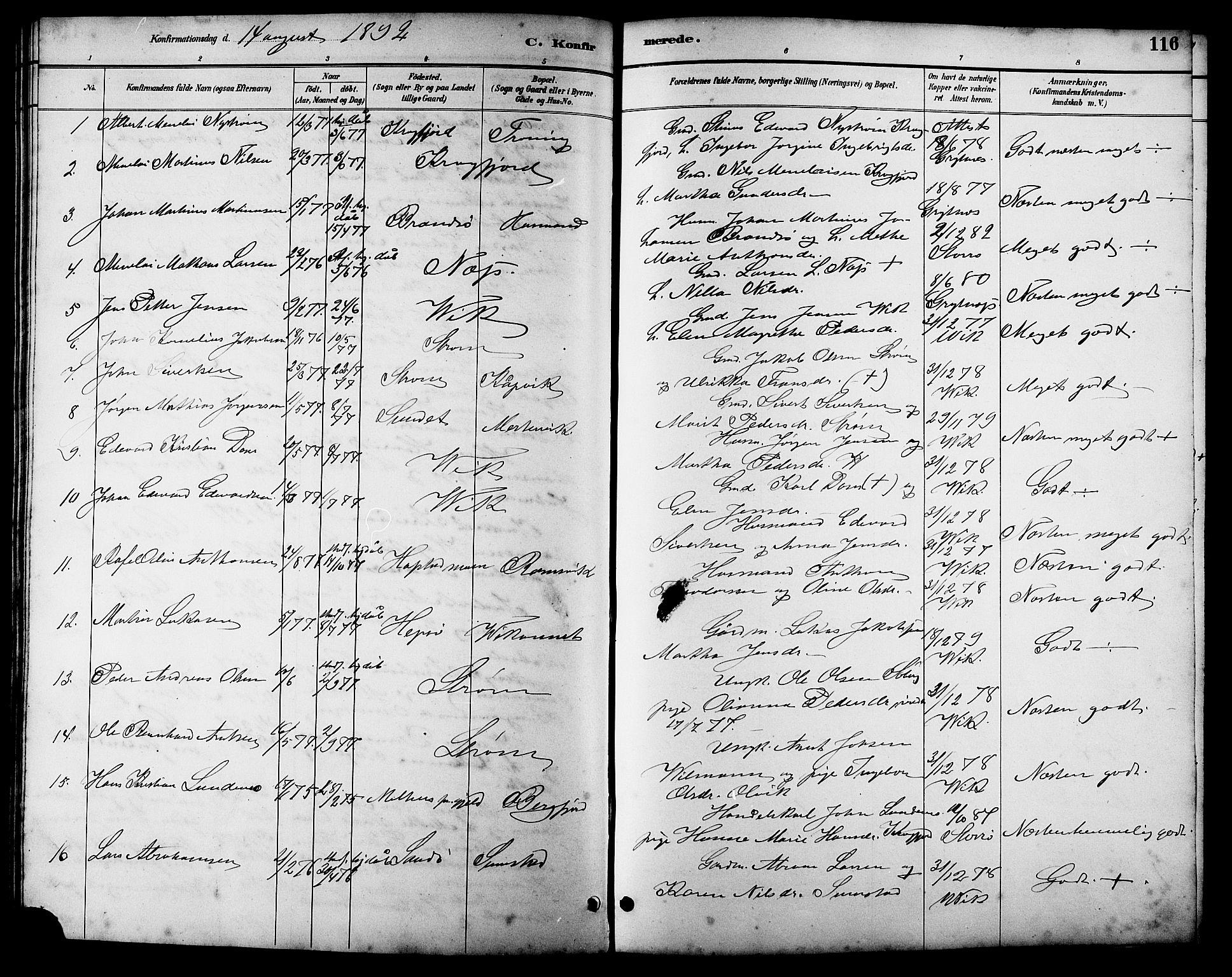 SAT, Ministerialprotokoller, klokkerbøker og fødselsregistre - Sør-Trøndelag, 657/L0716: Klokkerbok nr. 657C03, 1889-1904, s. 116
