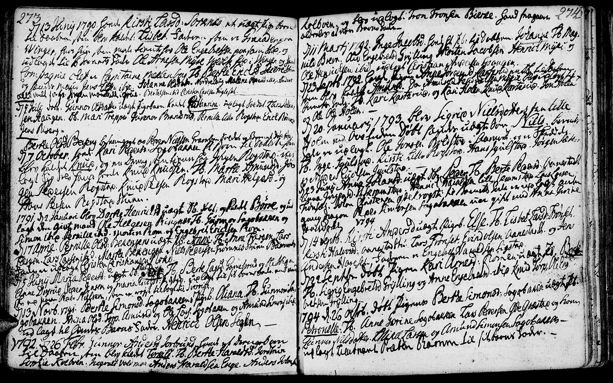 SAH, Løten prestekontor, K/Ka/L0003: Ministerialbok nr. 3, 1773-1800, s. 273-274