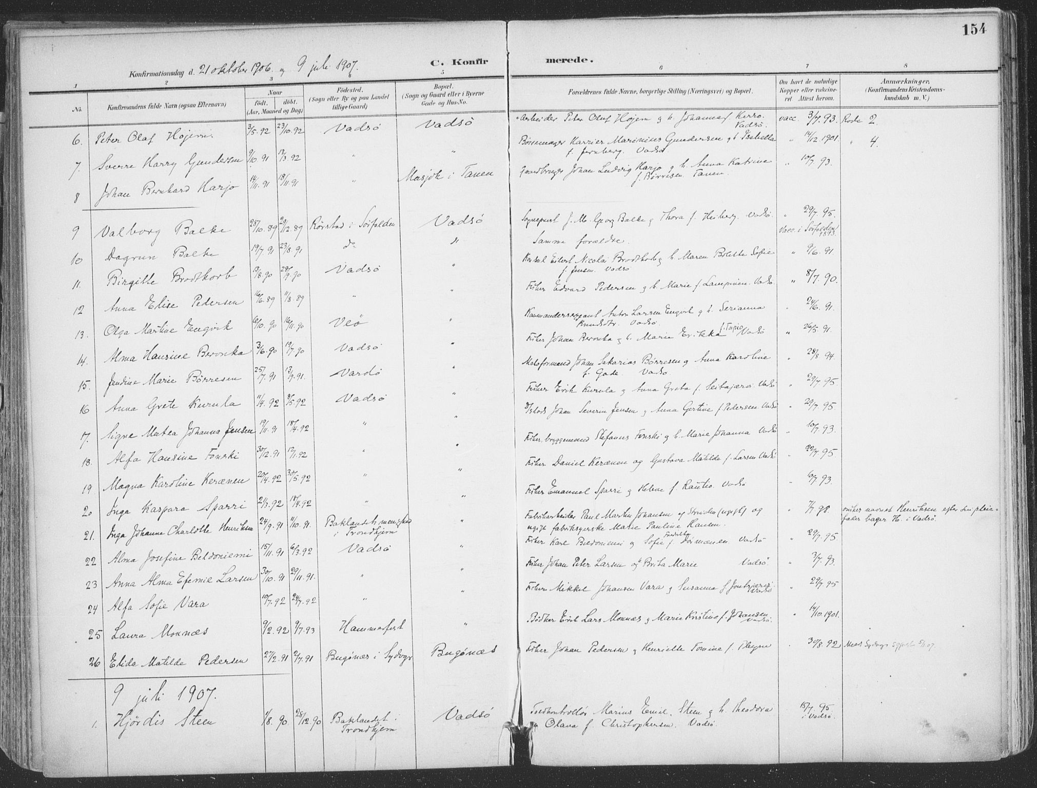SATØ, Vadsø sokneprestkontor, H/Ha/L0007kirke: Ministerialbok nr. 7, 1896-1916, s. 154