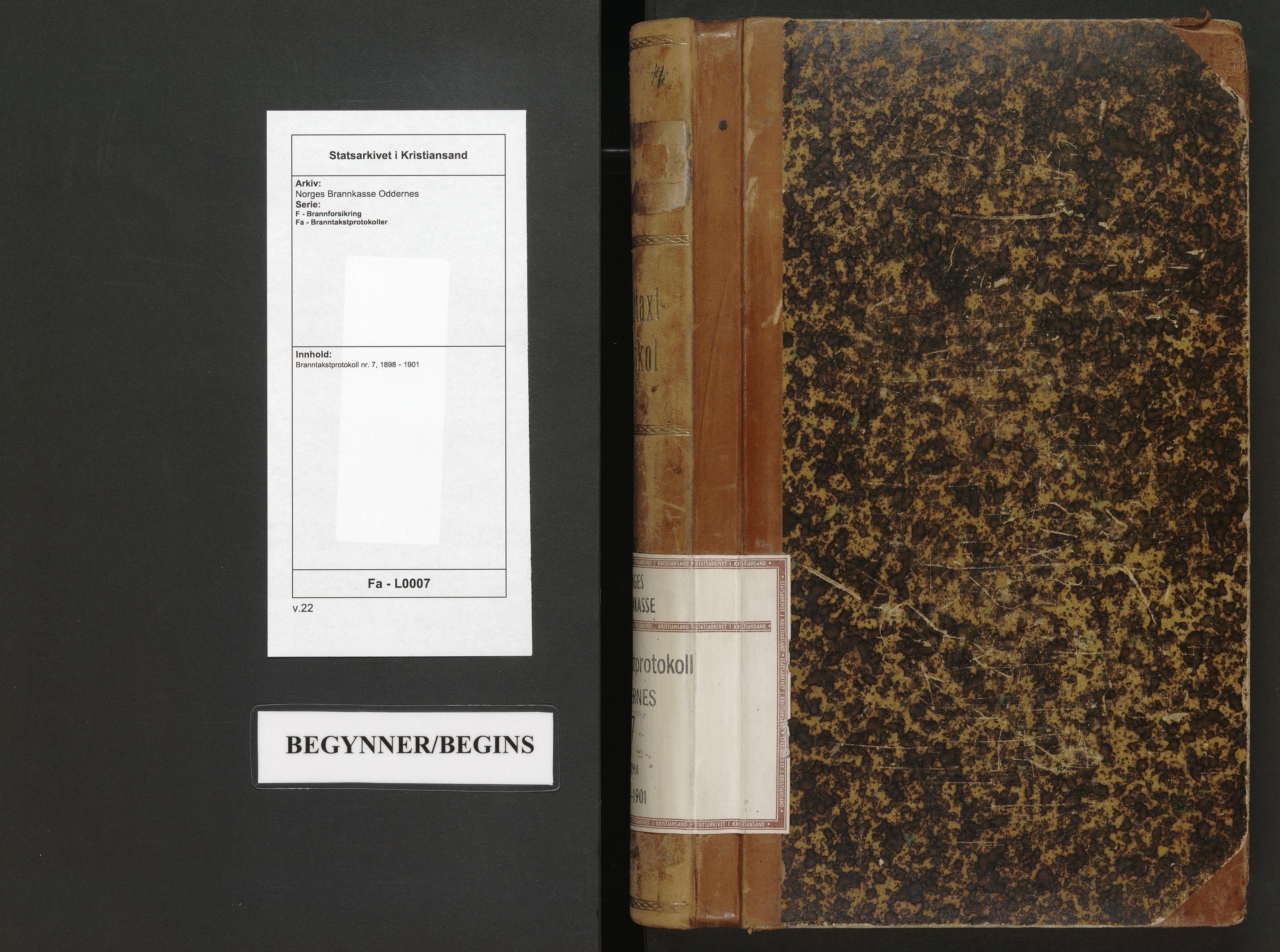 SAK, Norges Brannkasse Oddernes, F/Fa/L0007: Branntakstprotokoll nr. 7, 1898-1901