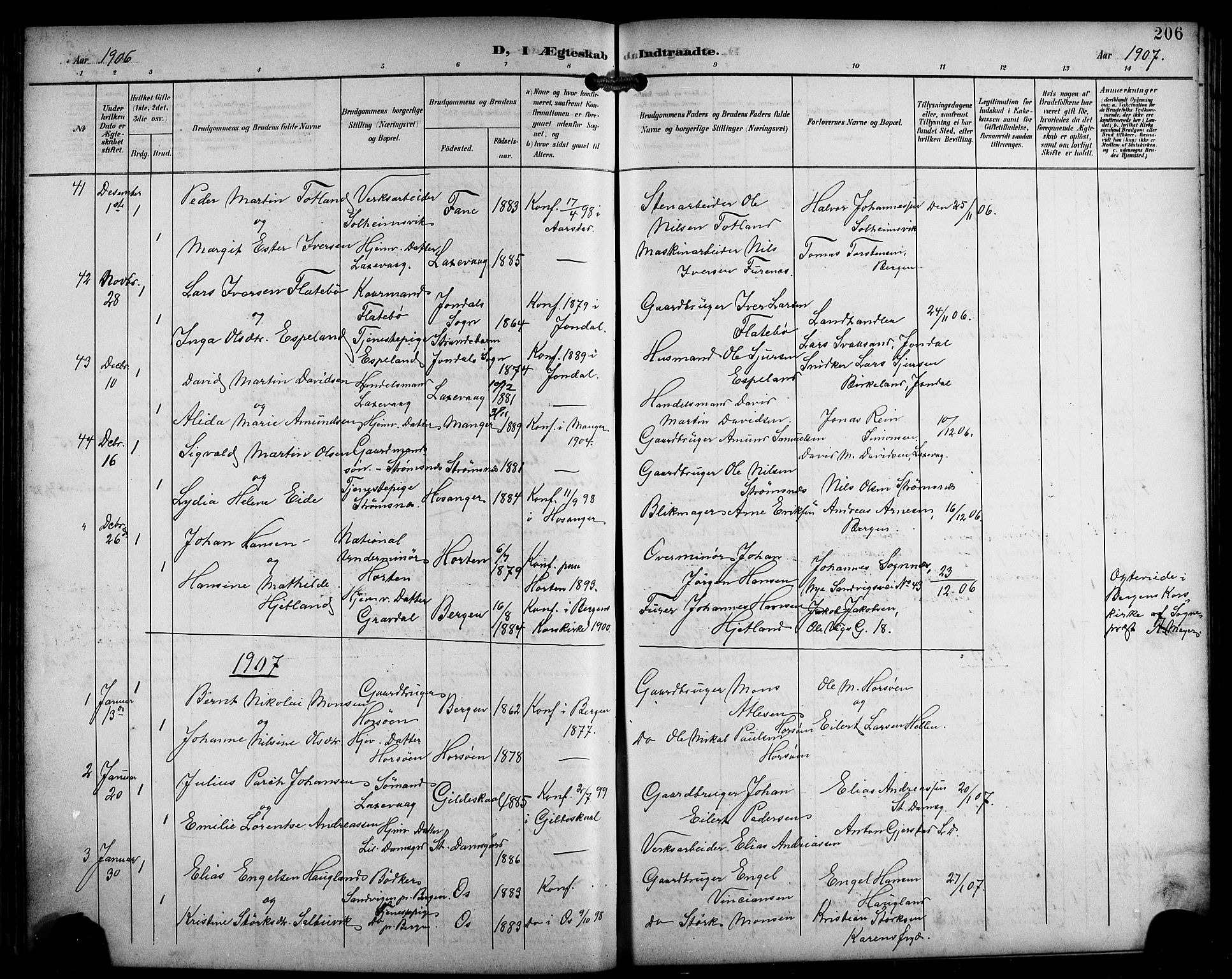 SAB, Laksevåg Sokneprestembete, H/Ha/Hab/Haba/L0004: Klokkerbok nr. A 4, 1899-1909, s. 206