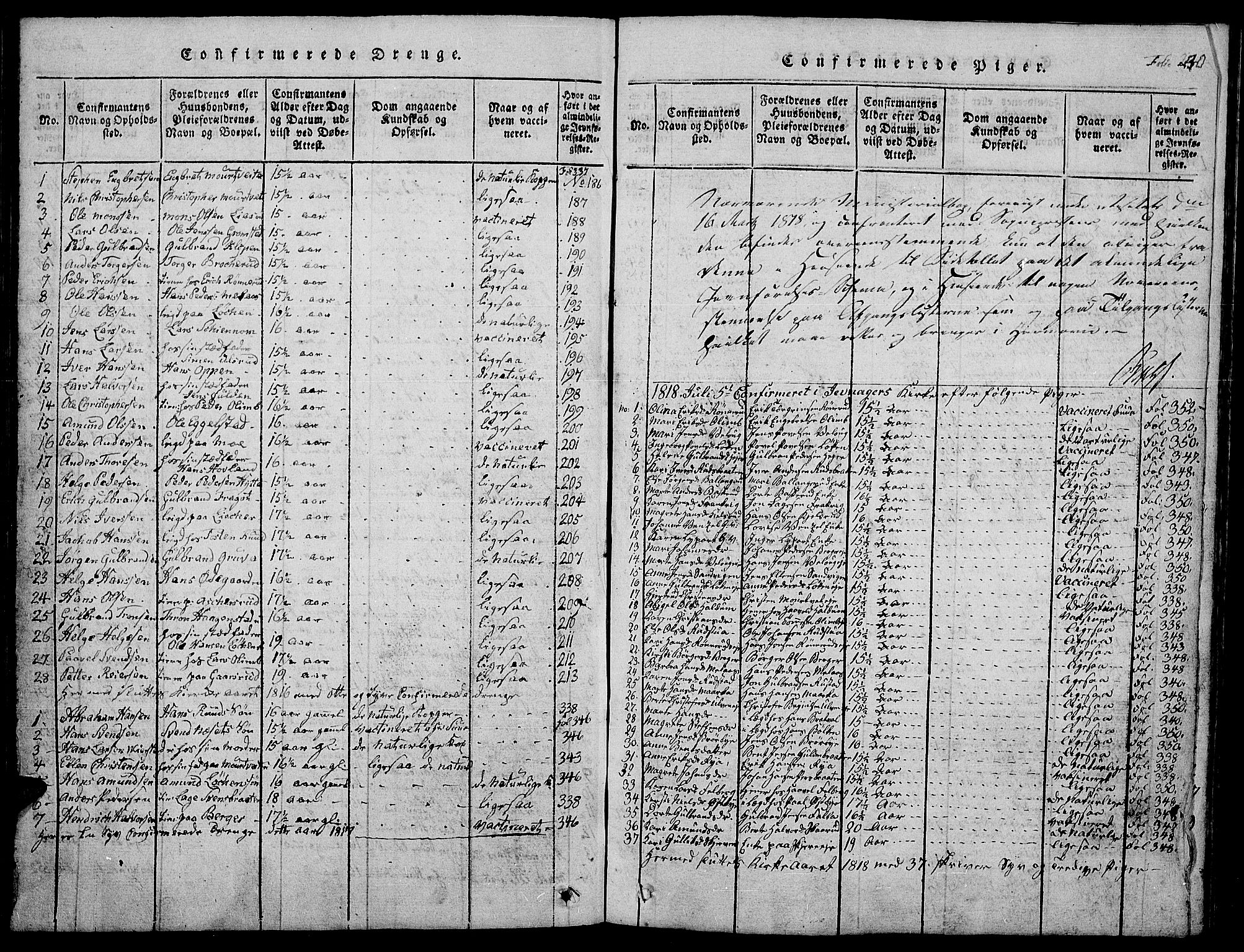 SAH, Jevnaker prestekontor, Klokkerbok nr. 1, 1815-1837, s. 240