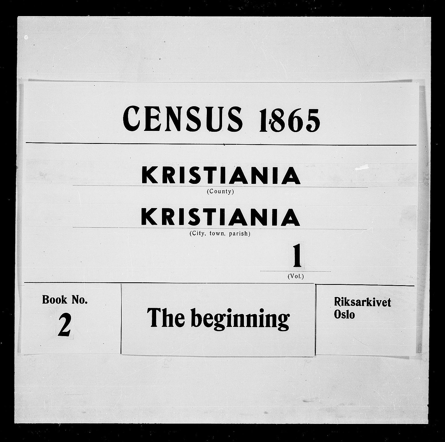 RA, Folketelling 1865 for 0301 Kristiania kjøpstad, 1865, s. 1