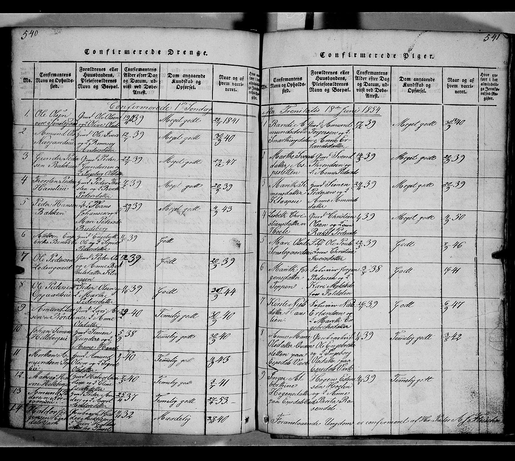 SAH, Gausdal prestekontor, Klokkerbok nr. 2, 1818-1874, s. 540-541