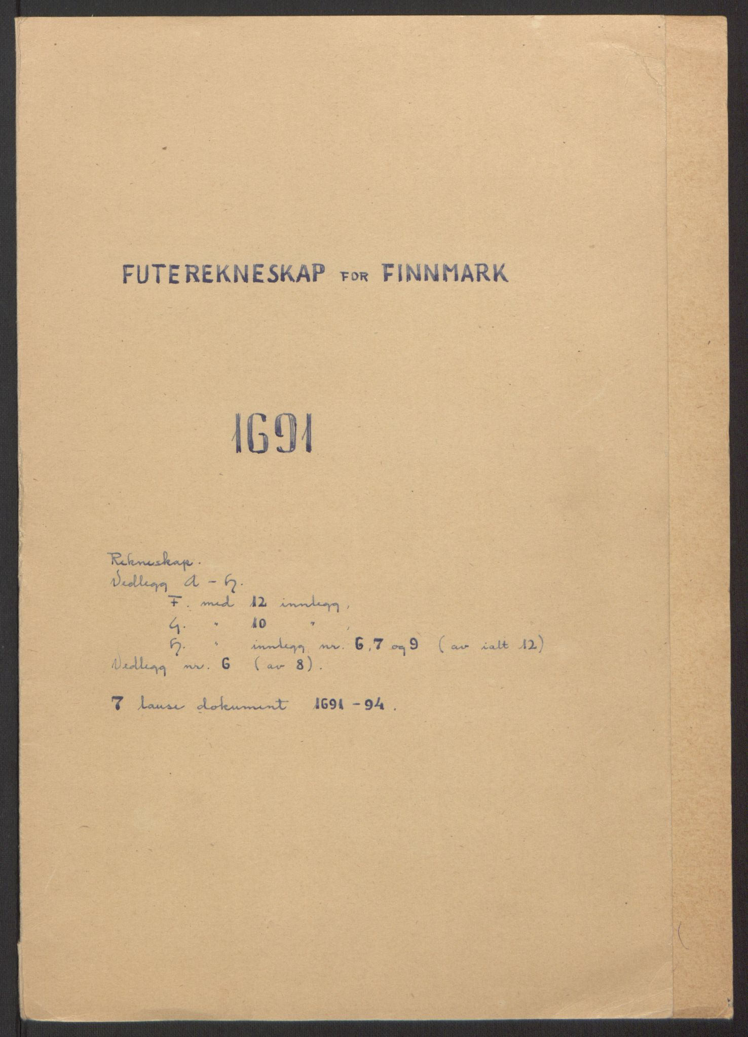 RA, Rentekammeret inntil 1814, Reviderte regnskaper, Fogderegnskap, R69/L4851: Fogderegnskap Finnmark/Vardøhus, 1691-1700, s. 2