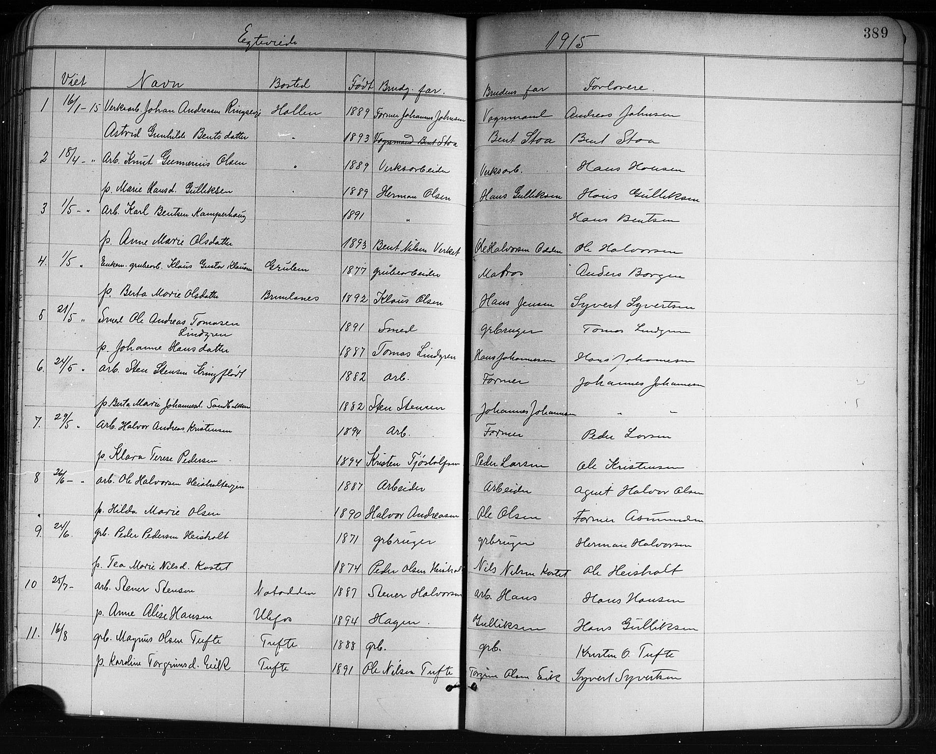 SAKO, Holla kirkebøker, G/Ga/L0005: Klokkerbok nr. I 5, 1891-1917, s. 389