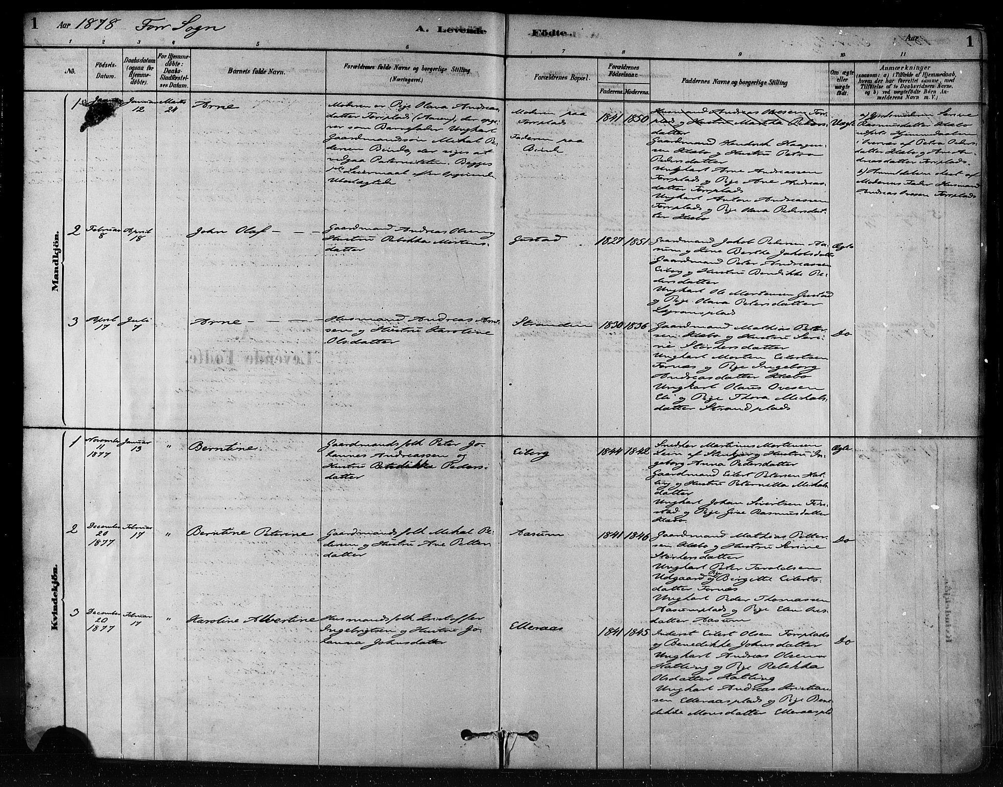SAT, Ministerialprotokoller, klokkerbøker og fødselsregistre - Nord-Trøndelag, 746/L0448: Ministerialbok nr. 746A07 /1, 1878-1900, s. 1