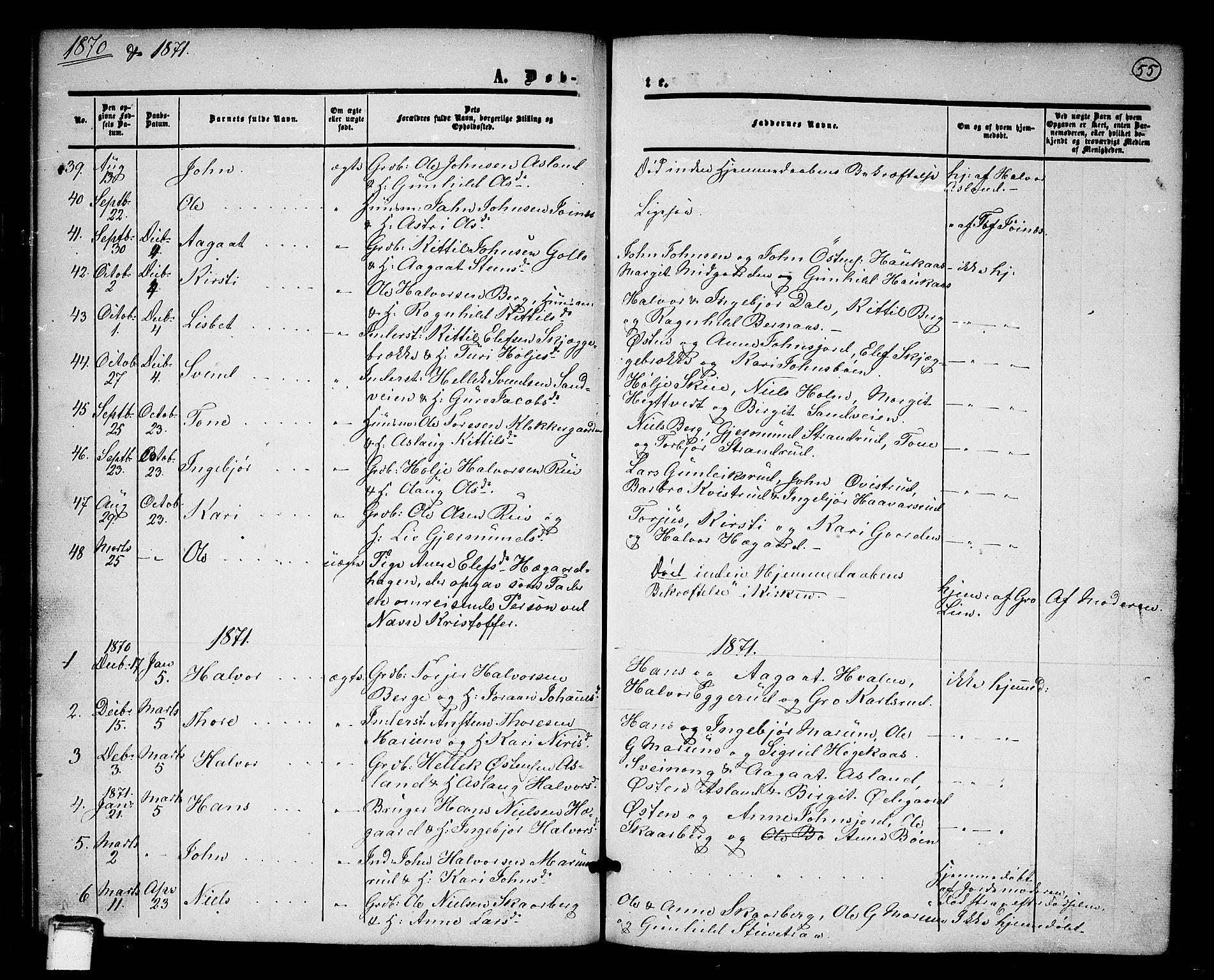 SAKO, Tinn kirkebøker, G/Ga/L0002: Klokkerbok nr. I 2, 1851-1883, s. 55
