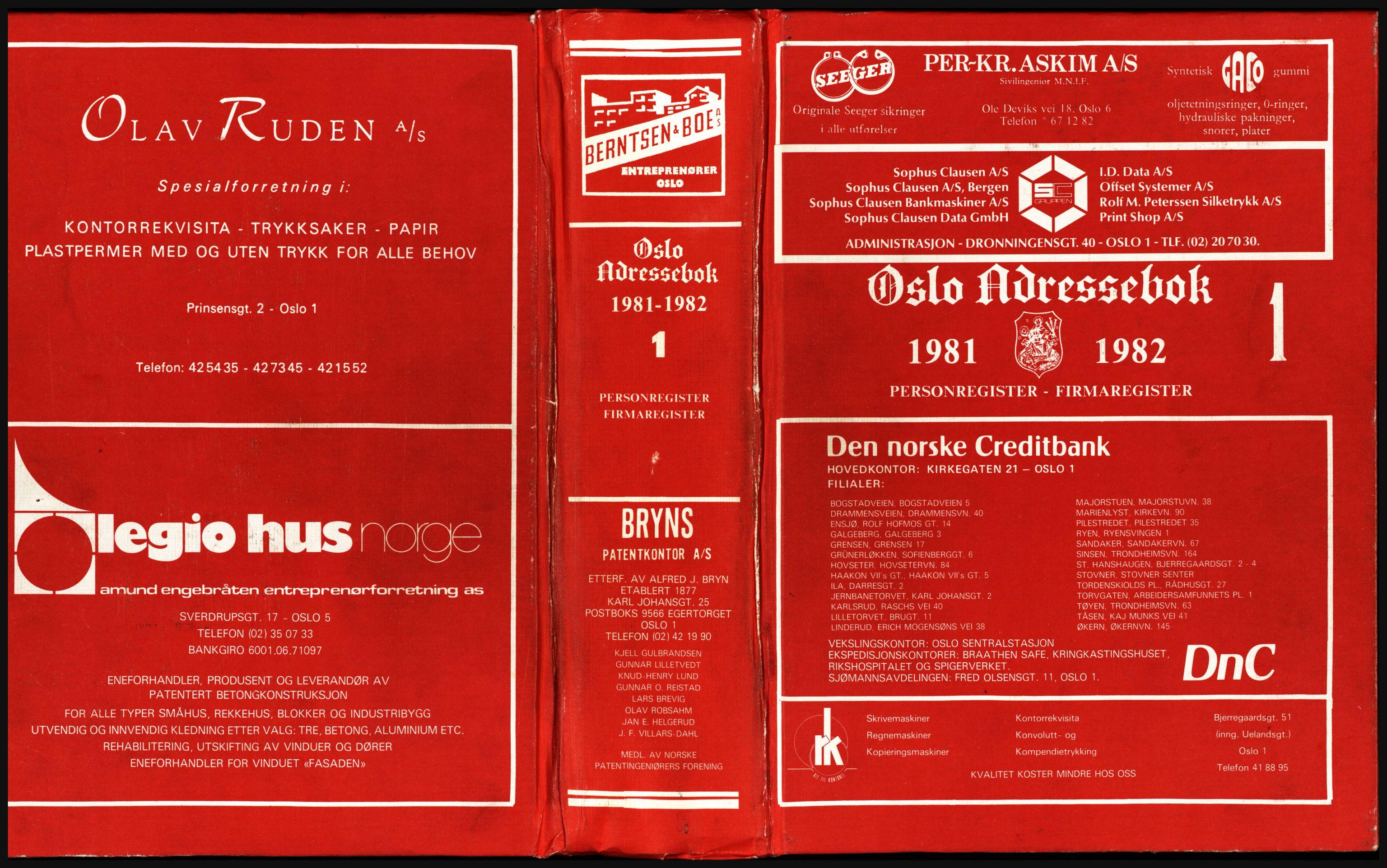 PUBL, Kristiania/Oslo adressebok, 1981-1982