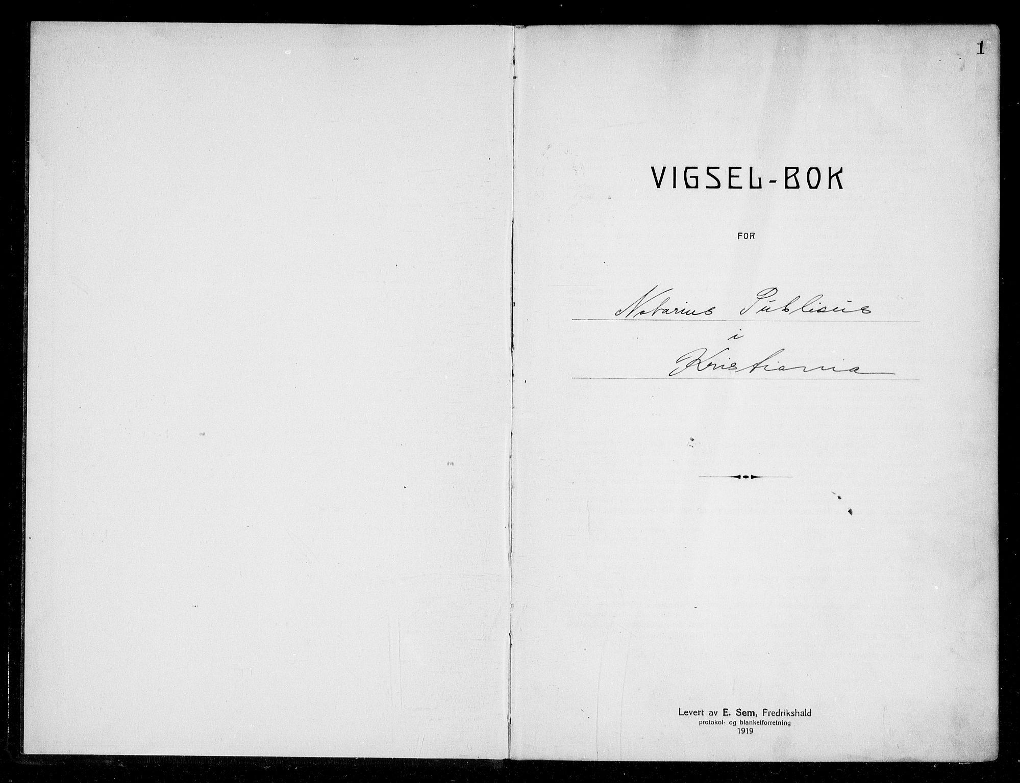 SAO, Oslo byfogd avd. I, L/Lb/Lbb/L0016: Notarialprotokoll, rekke II: Vigsler, 1922-1924, s. 1a