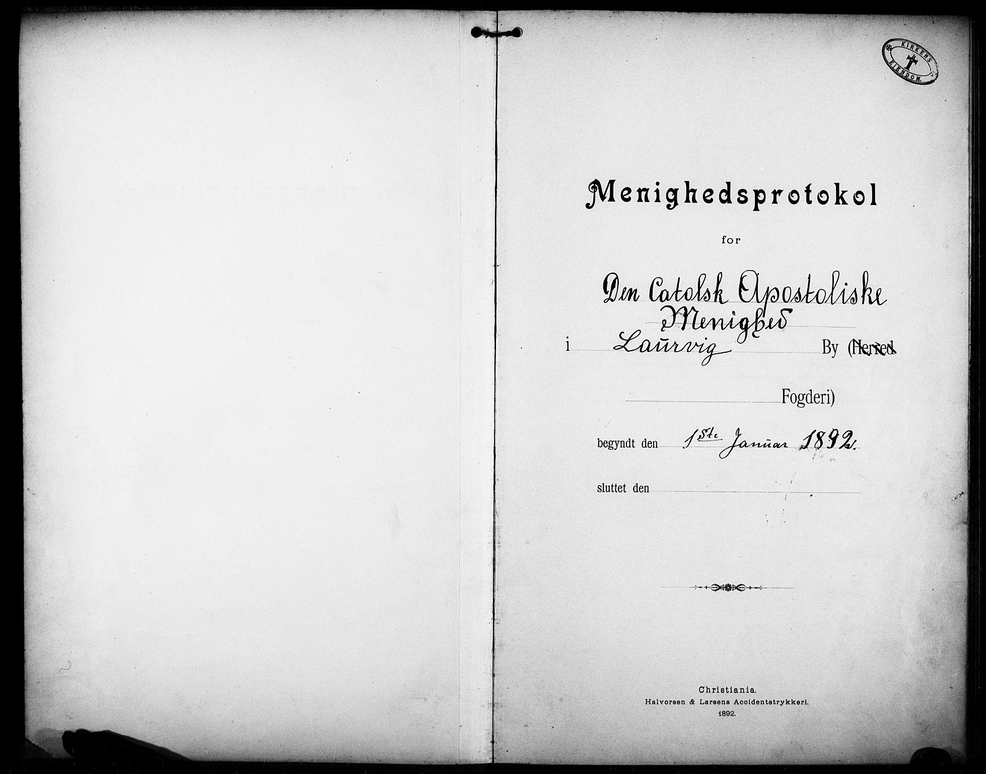 SAKO, Den katolsk-apostoliske menighet i Larvik, F/Fa/L0001: Dissenterprotokoll nr. 1, 1892-1933