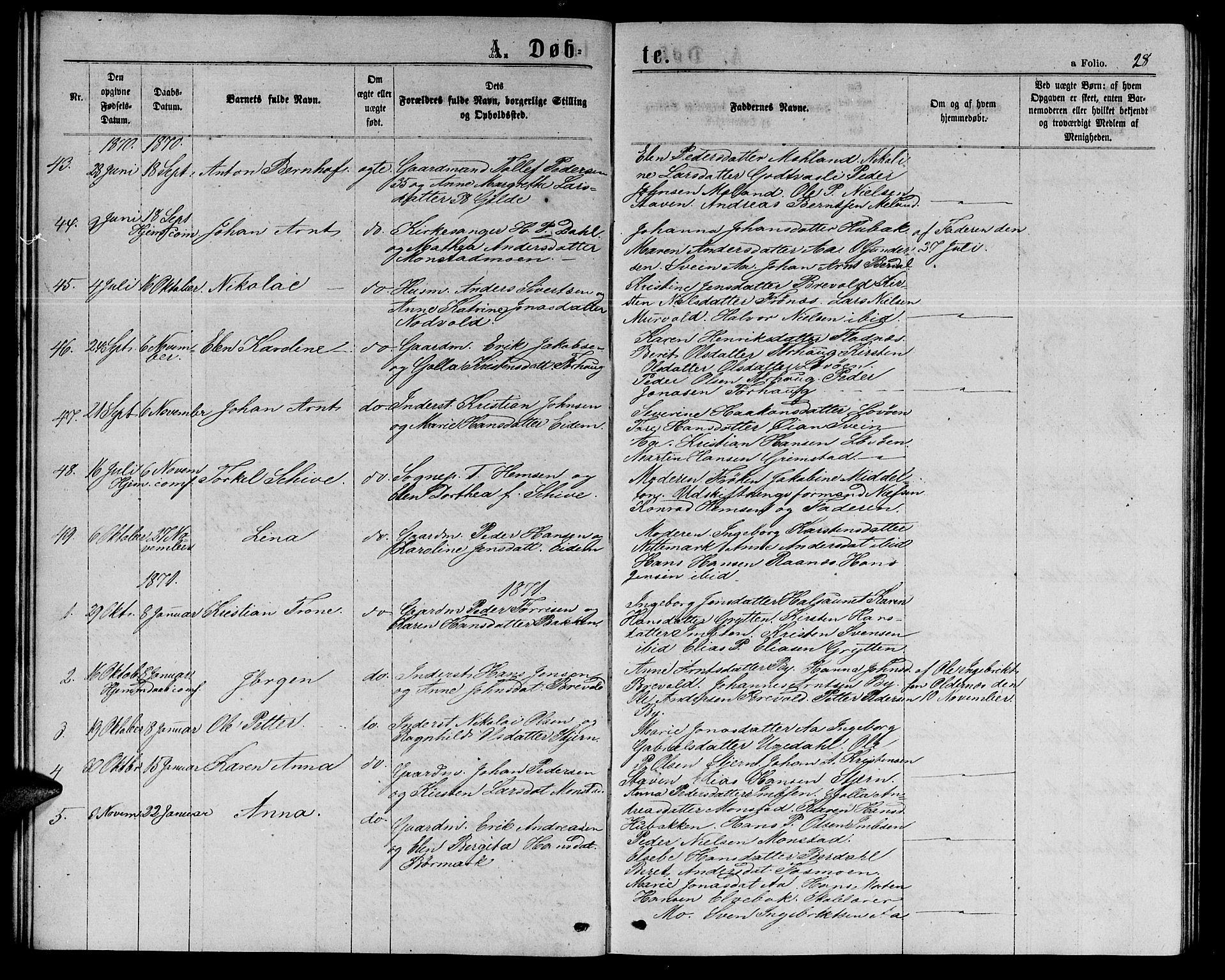 SAT, Ministerialprotokoller, klokkerbøker og fødselsregistre - Sør-Trøndelag, 655/L0686: Klokkerbok nr. 655C02, 1866-1879, s. 28