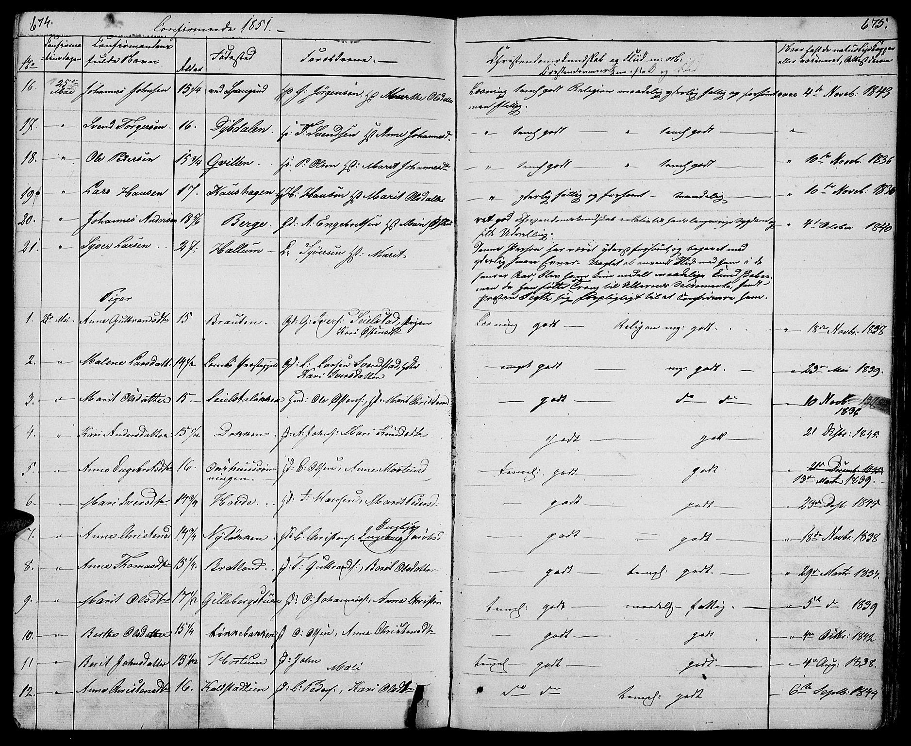 SAH, Ringebu prestekontor, Klokkerbok nr. 2, 1839-1853, s. 674-675