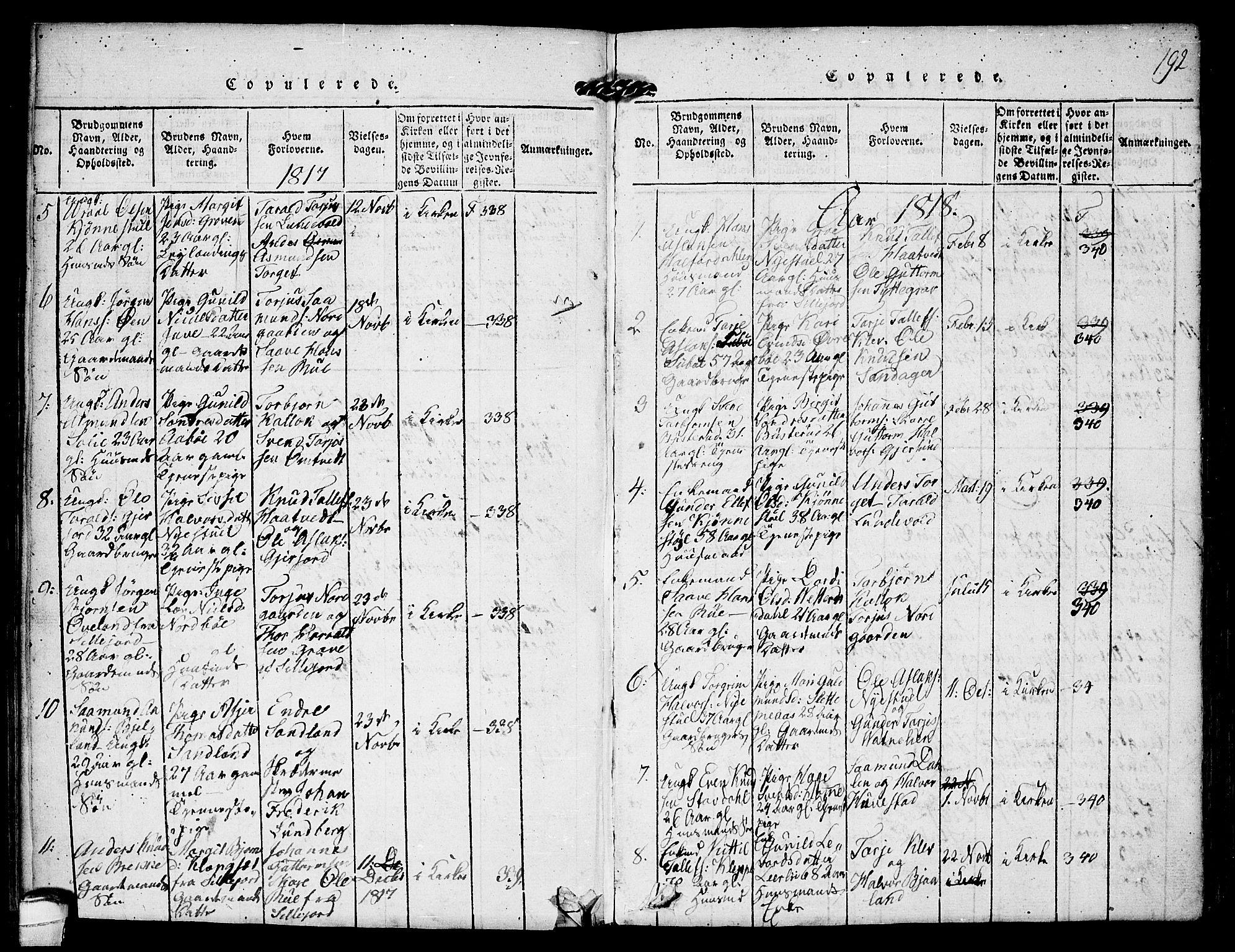 SAKO, Kviteseid kirkebøker, F/Fb/L0001: Ministerialbok nr. II 1, 1815-1836, s. 192