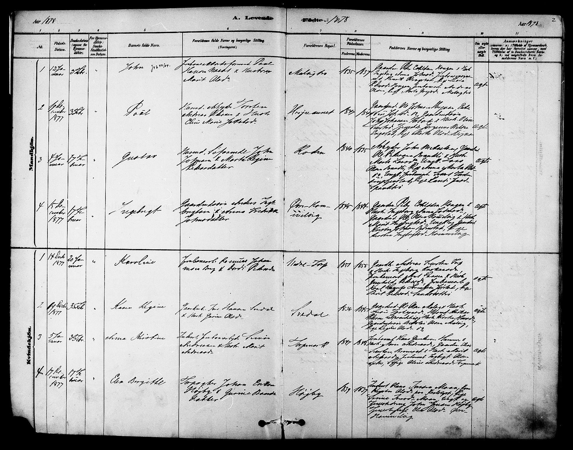 SAT, Ministerialprotokoller, klokkerbøker og fødselsregistre - Sør-Trøndelag, 616/L0410: Ministerialbok nr. 616A07, 1878-1893, s. 2