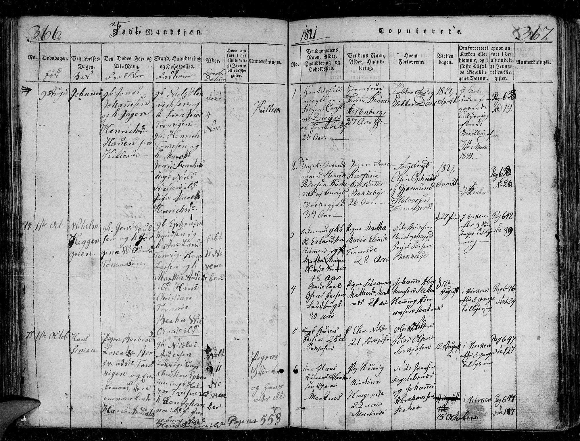 SATØ, Tromsø sokneprestkontor/stiftsprosti/domprosti, G/Gb/L0001klokker: Klokkerbok nr. 1, 1821-1833, s. 366-367