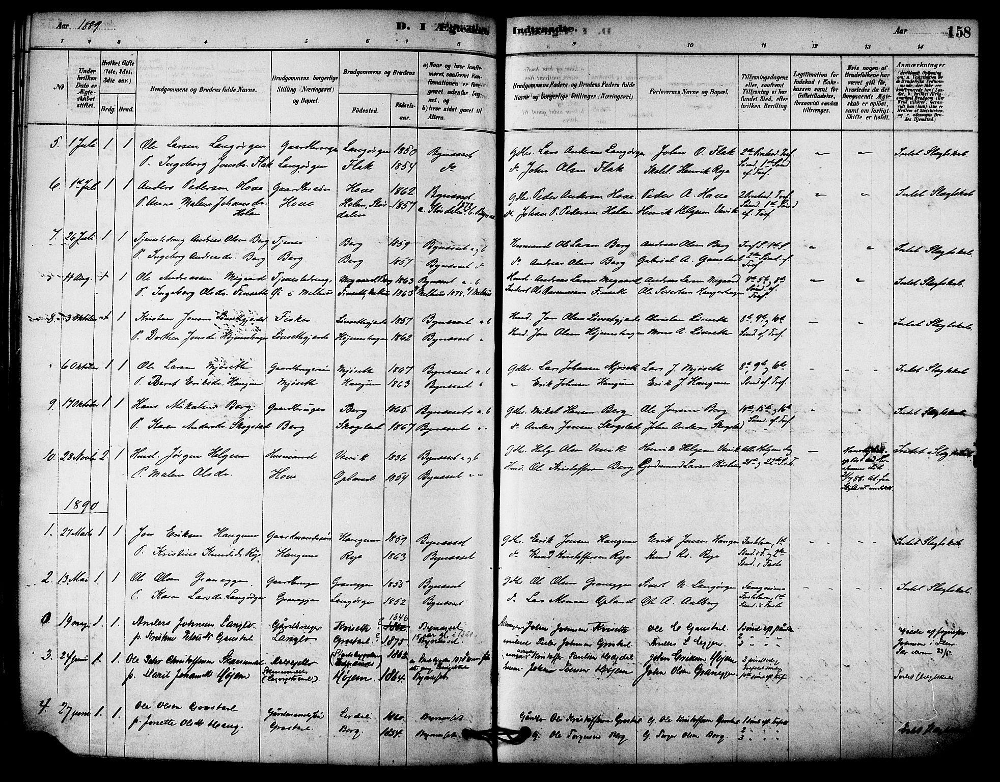 SAT, Ministerialprotokoller, klokkerbøker og fødselsregistre - Sør-Trøndelag, 612/L0378: Ministerialbok nr. 612A10, 1878-1897, s. 158
