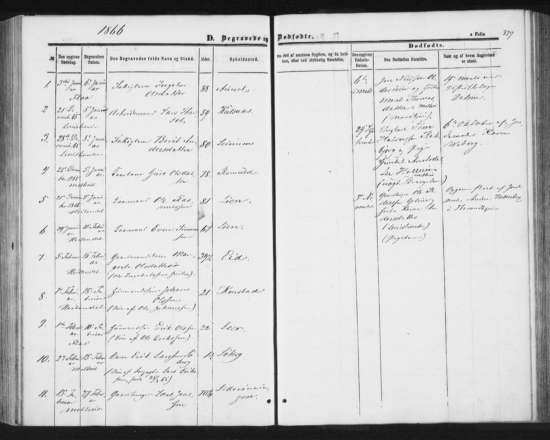 SAT, Ministerialprotokoller, klokkerbøker og fødselsregistre - Sør-Trøndelag, 691/L1077: Ministerialbok nr. 691A09, 1862-1873, s. 379