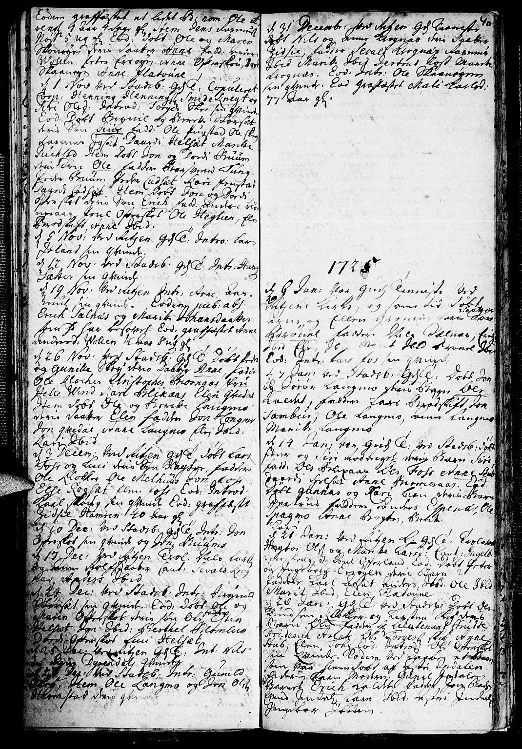 SAT, Ministerialprotokoller, klokkerbøker og fødselsregistre - Sør-Trøndelag, 646/L0603: Ministerialbok nr. 646A01, 1700-1734, s. 40