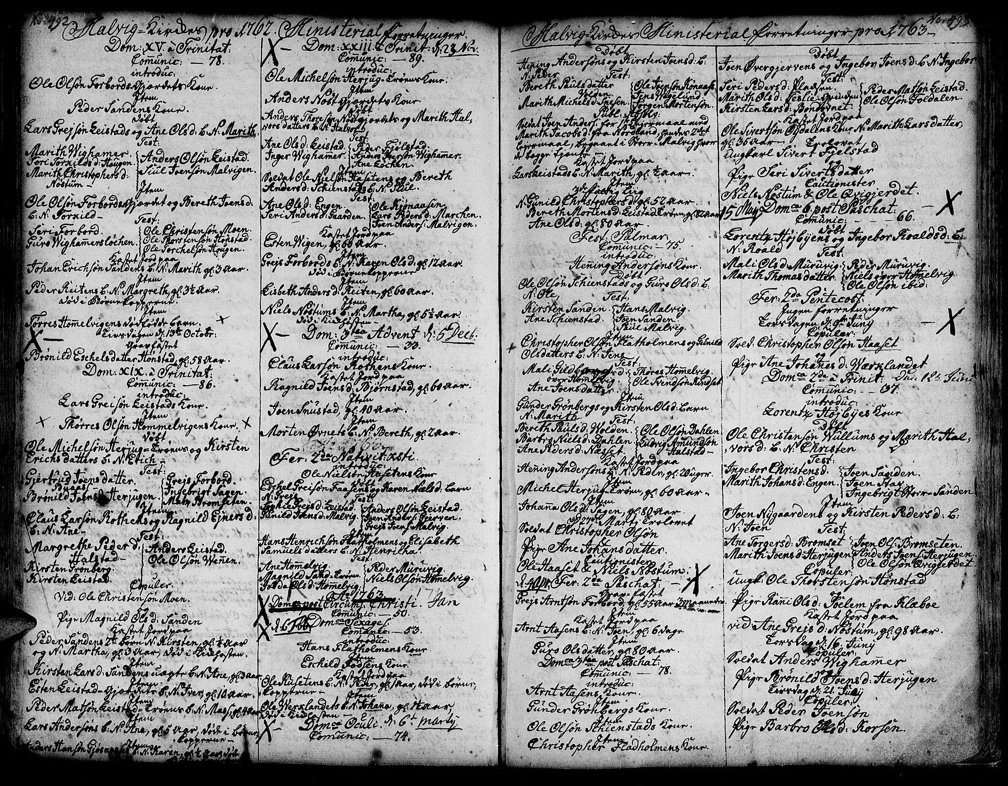SAT, Ministerialprotokoller, klokkerbøker og fødselsregistre - Sør-Trøndelag, 606/L0277: Ministerialbok nr. 606A01 /3, 1727-1780, s. 492-493