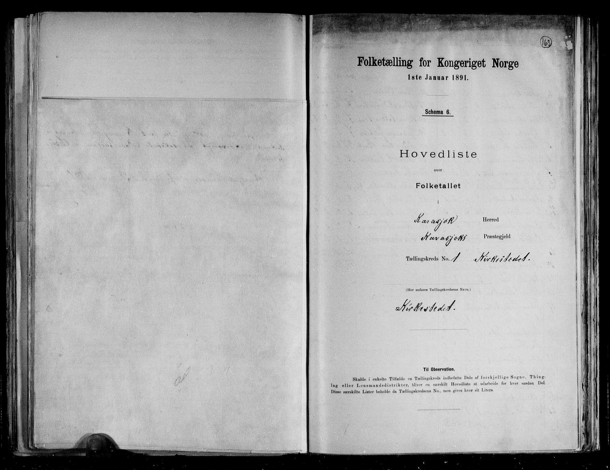 RA, Folketelling 1891 for 2021 Karasjok herred, 1891, s. 6