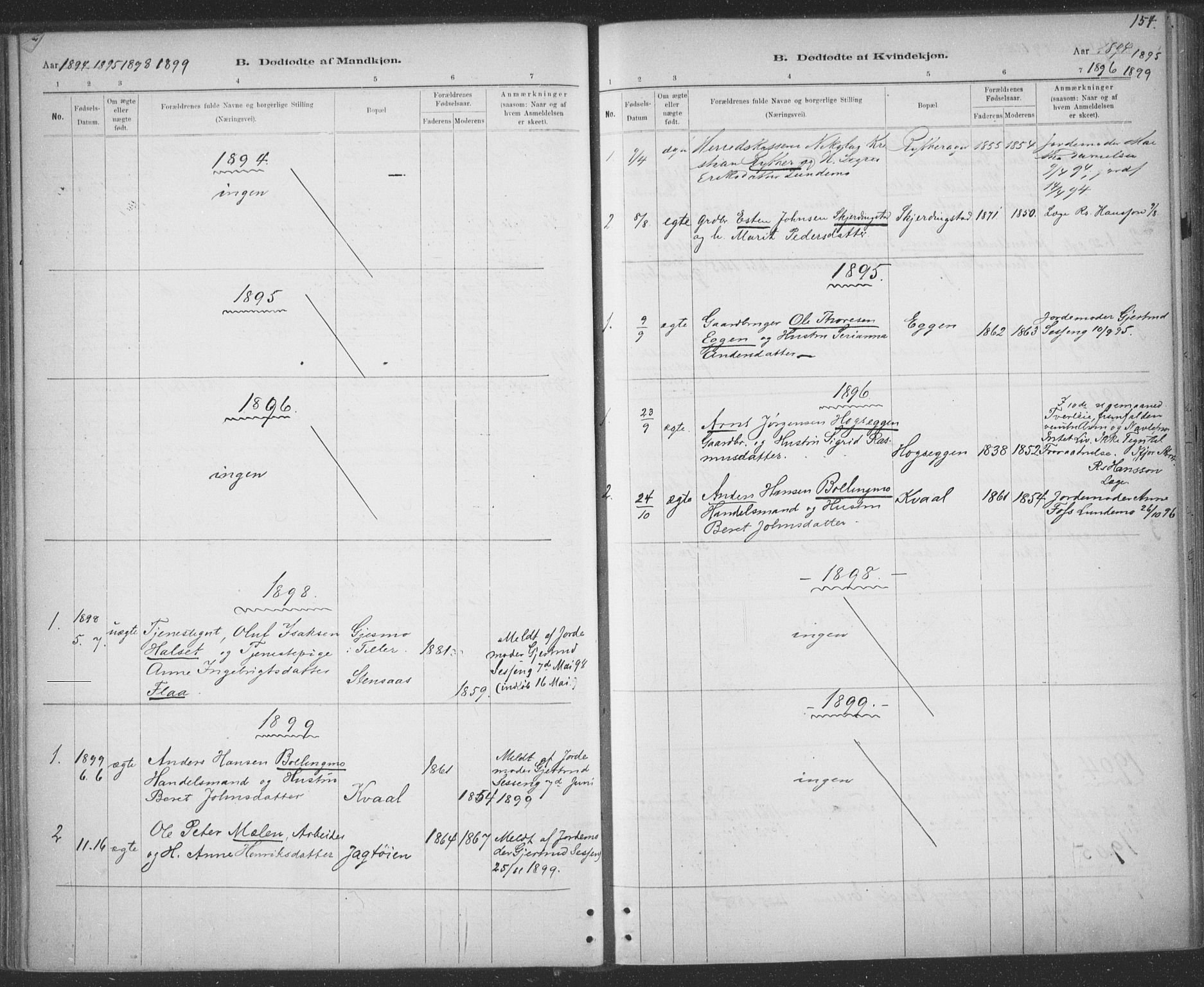 SAT, Ministerialprotokoller, klokkerbøker og fødselsregistre - Sør-Trøndelag, 691/L1085: Ministerialbok nr. 691A17, 1887-1908, s. 154
