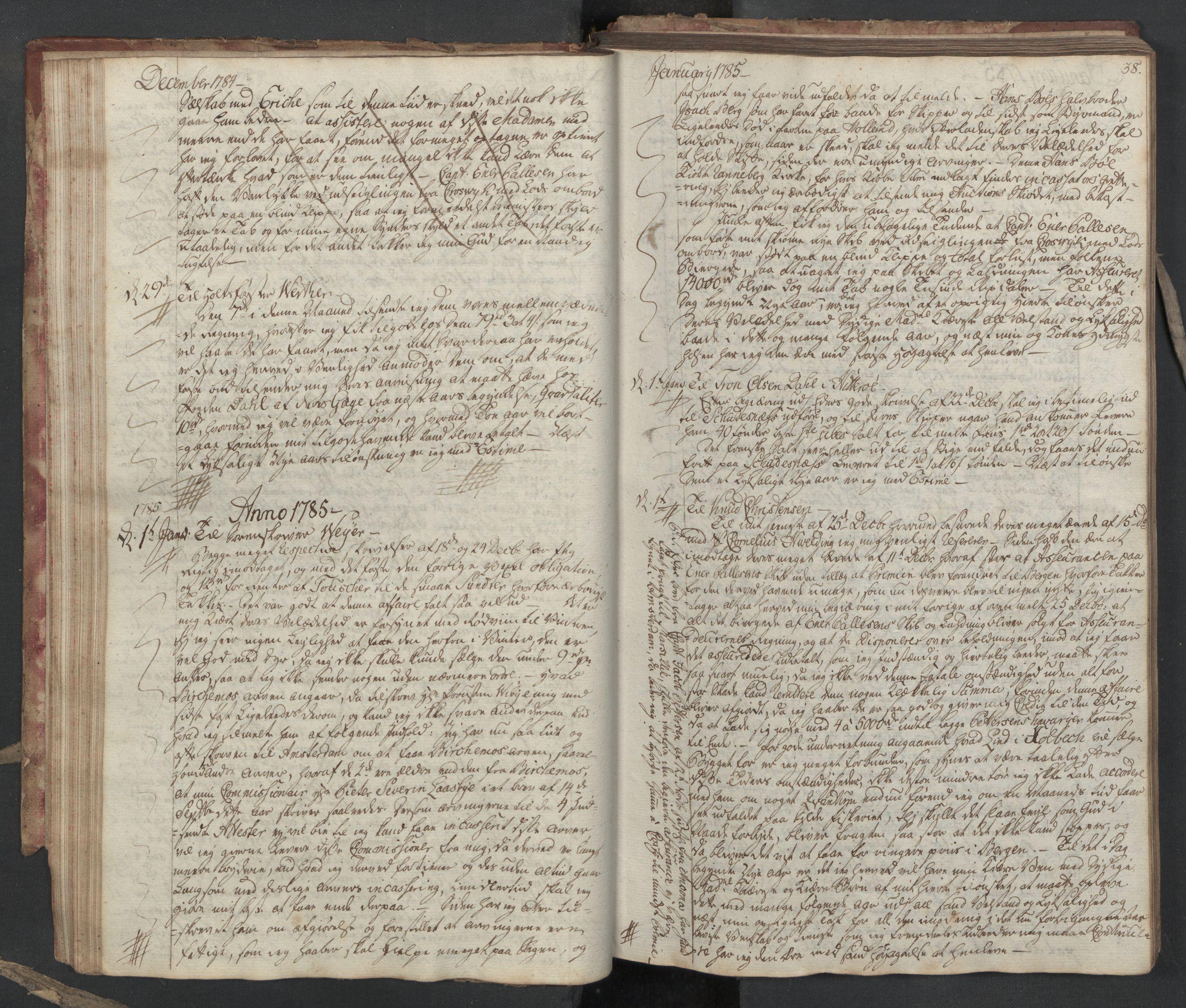 SAST, Pa 0003 - Ploug & Sundt, handelshuset, B/L0005: Kopibok, 1784-1788, s. 37b-38a