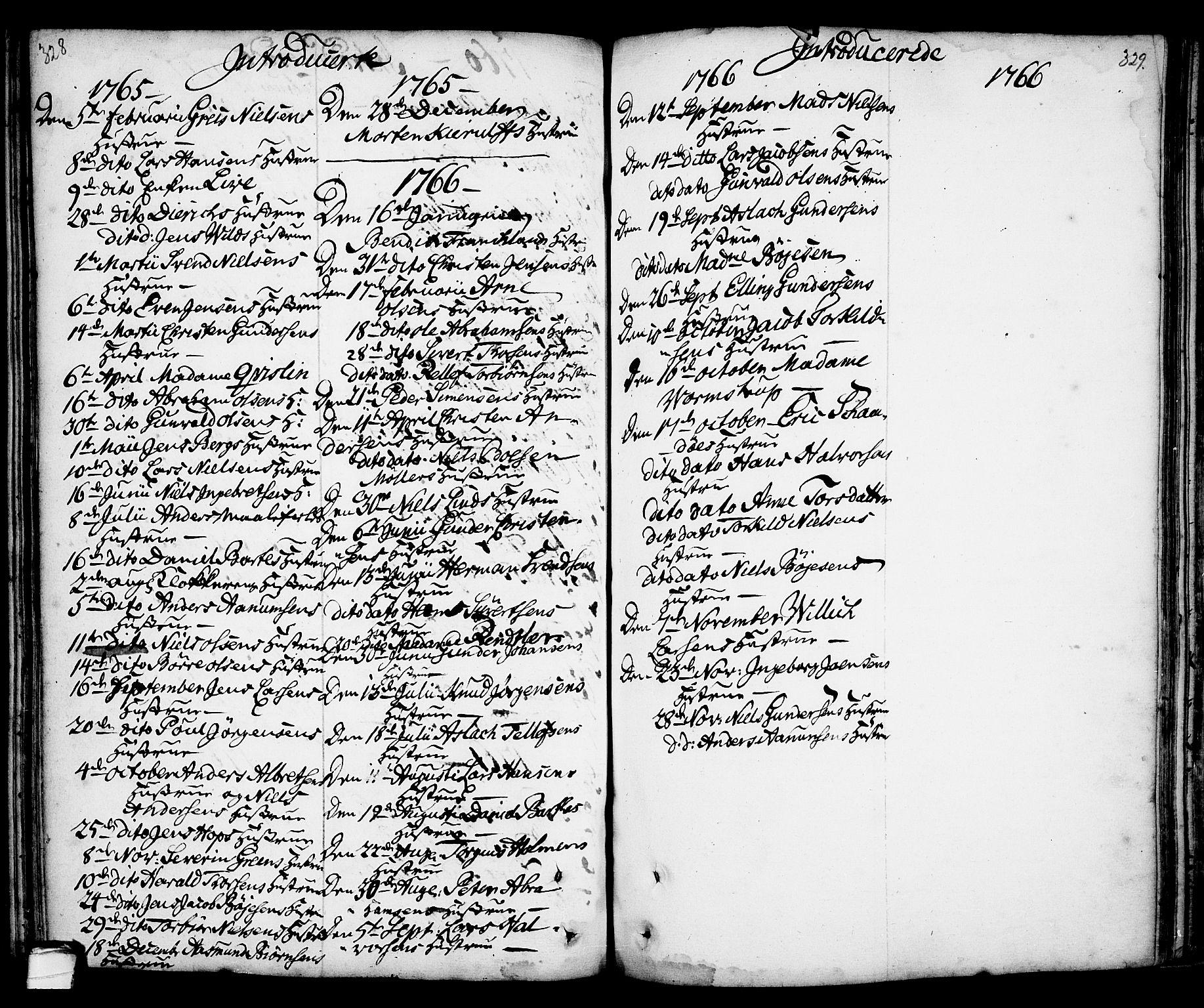 SAKO, Kragerø kirkebøker, F/Fa/L0001: Ministerialbok nr. 1, 1702-1766, s. 328-329
