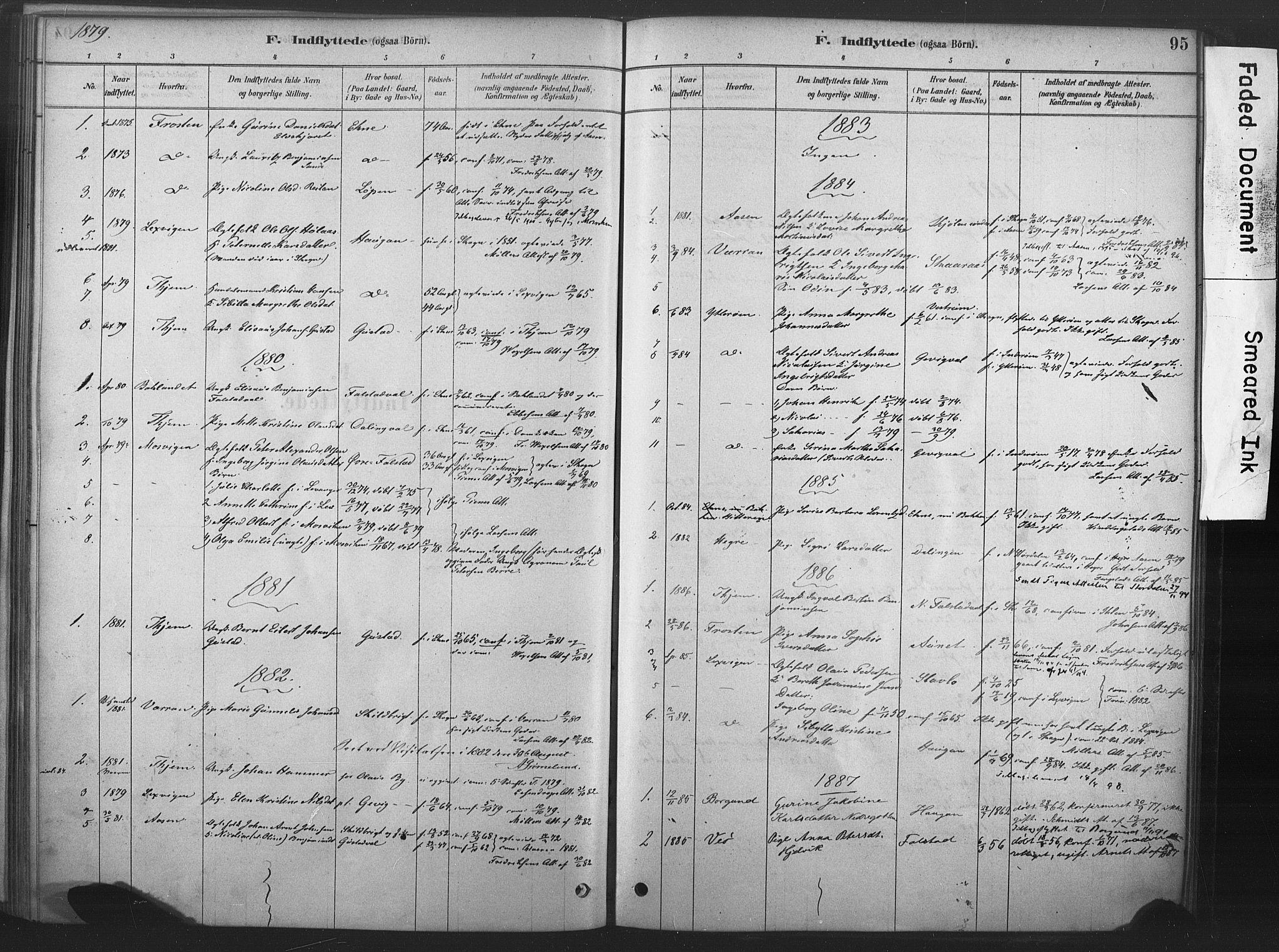 SAT, Ministerialprotokoller, klokkerbøker og fødselsregistre - Nord-Trøndelag, 719/L0178: Ministerialbok nr. 719A01, 1878-1900, s. 95