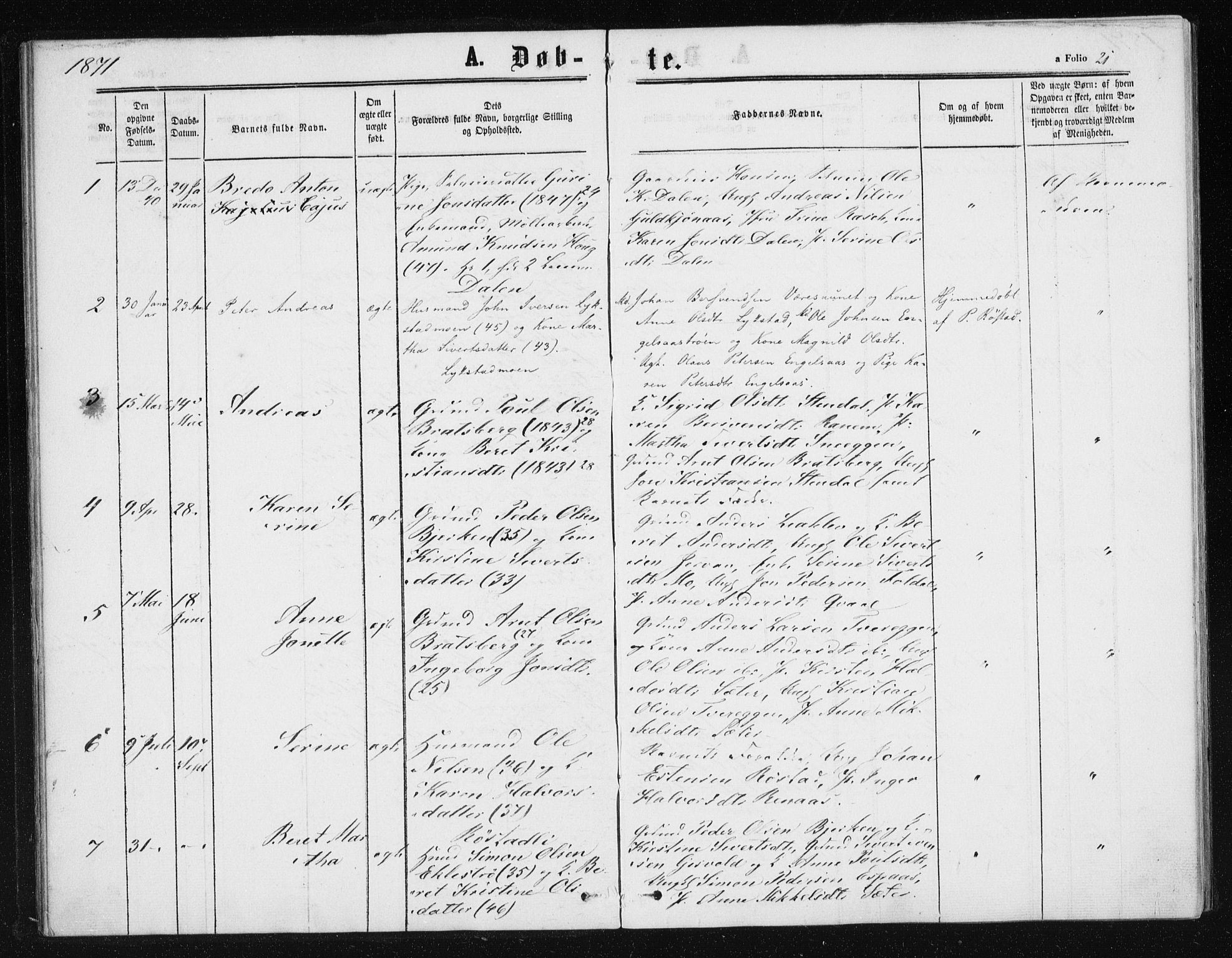 SAT, Ministerialprotokoller, klokkerbøker og fødselsregistre - Sør-Trøndelag, 608/L0333: Ministerialbok nr. 608A02, 1862-1876, s. 21