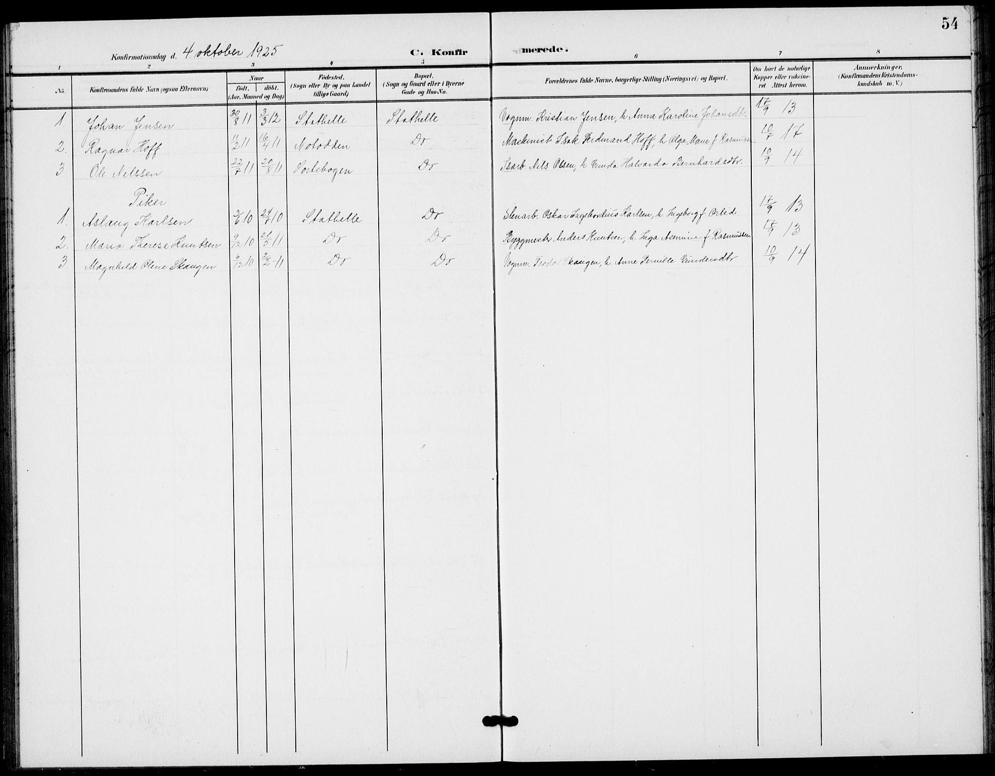 SAKO, Bamble kirkebøker, G/Gb/L0002: Klokkerbok nr. II 2, 1900-1925, s. 54