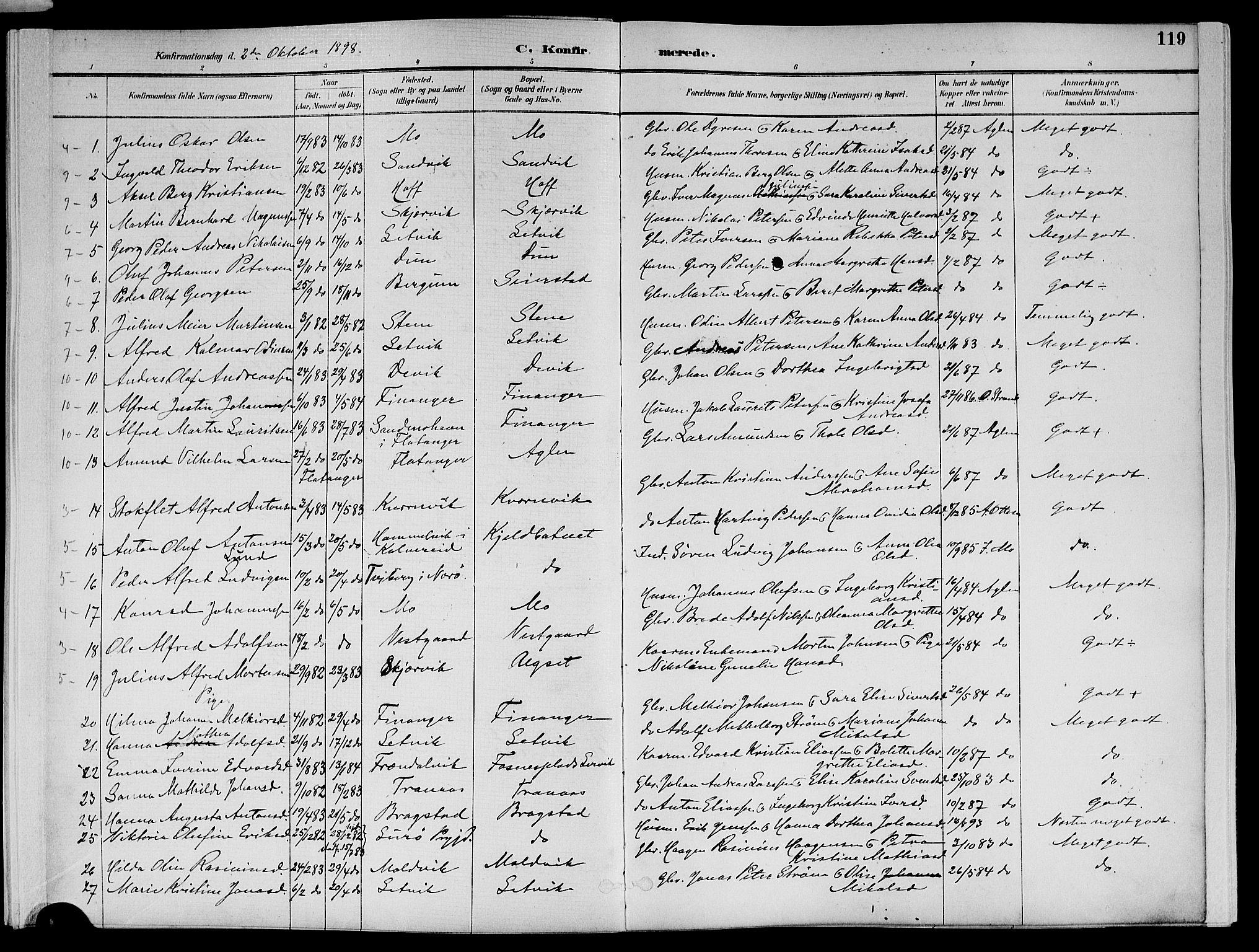 SAT, Ministerialprotokoller, klokkerbøker og fødselsregistre - Nord-Trøndelag, 773/L0617: Ministerialbok nr. 773A08, 1887-1910, s. 119